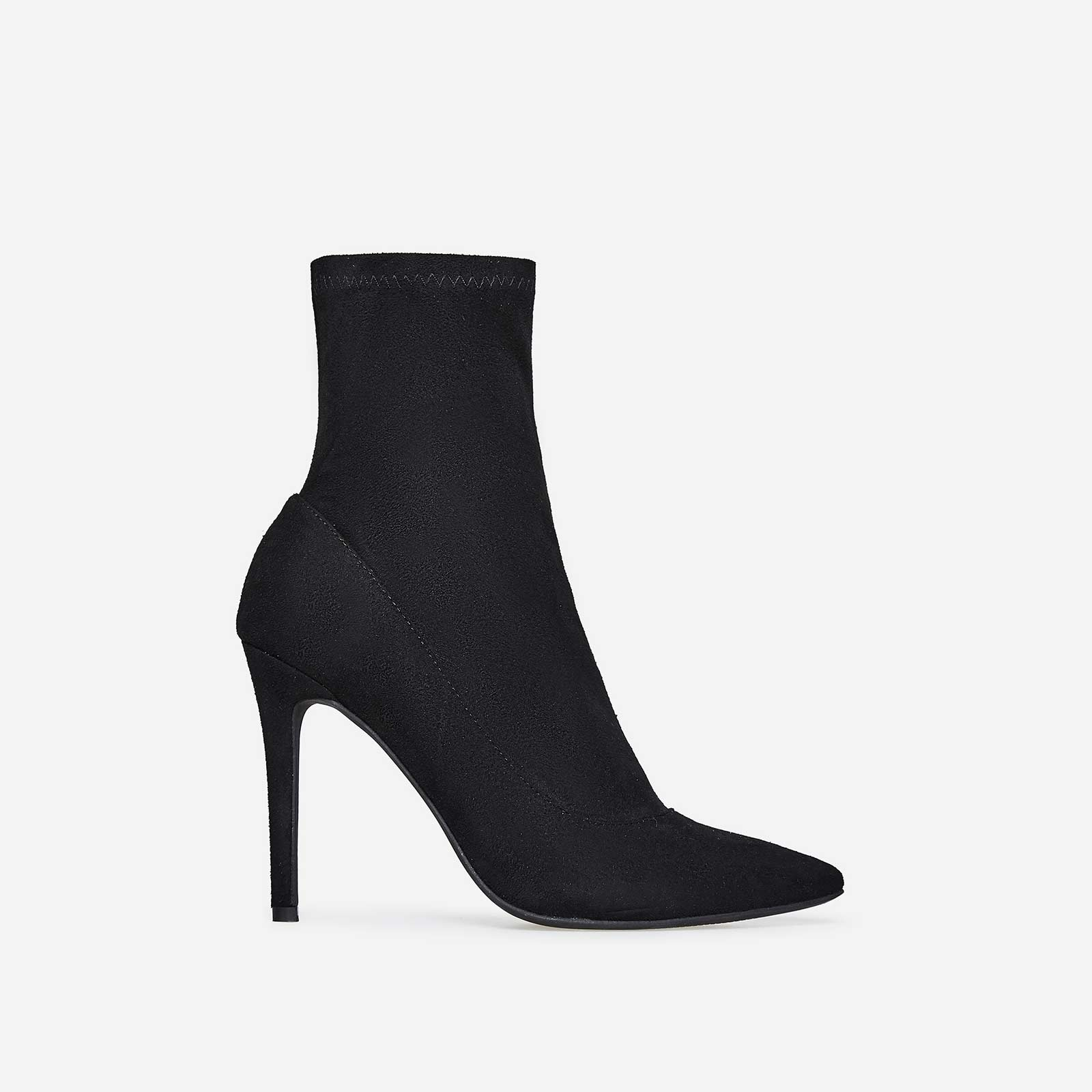 Rolo Pointed Toe Sock Boot In Black Faux Suede