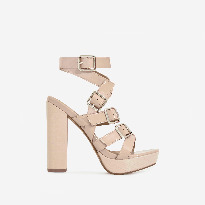 Romee Buckle Detail Platform Block Heel In Nude Patent