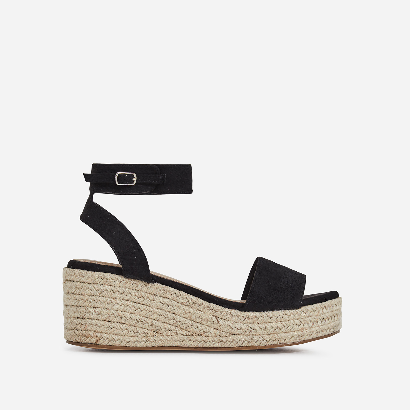 Rossi Espadrille Sandal In Black Faux Suede