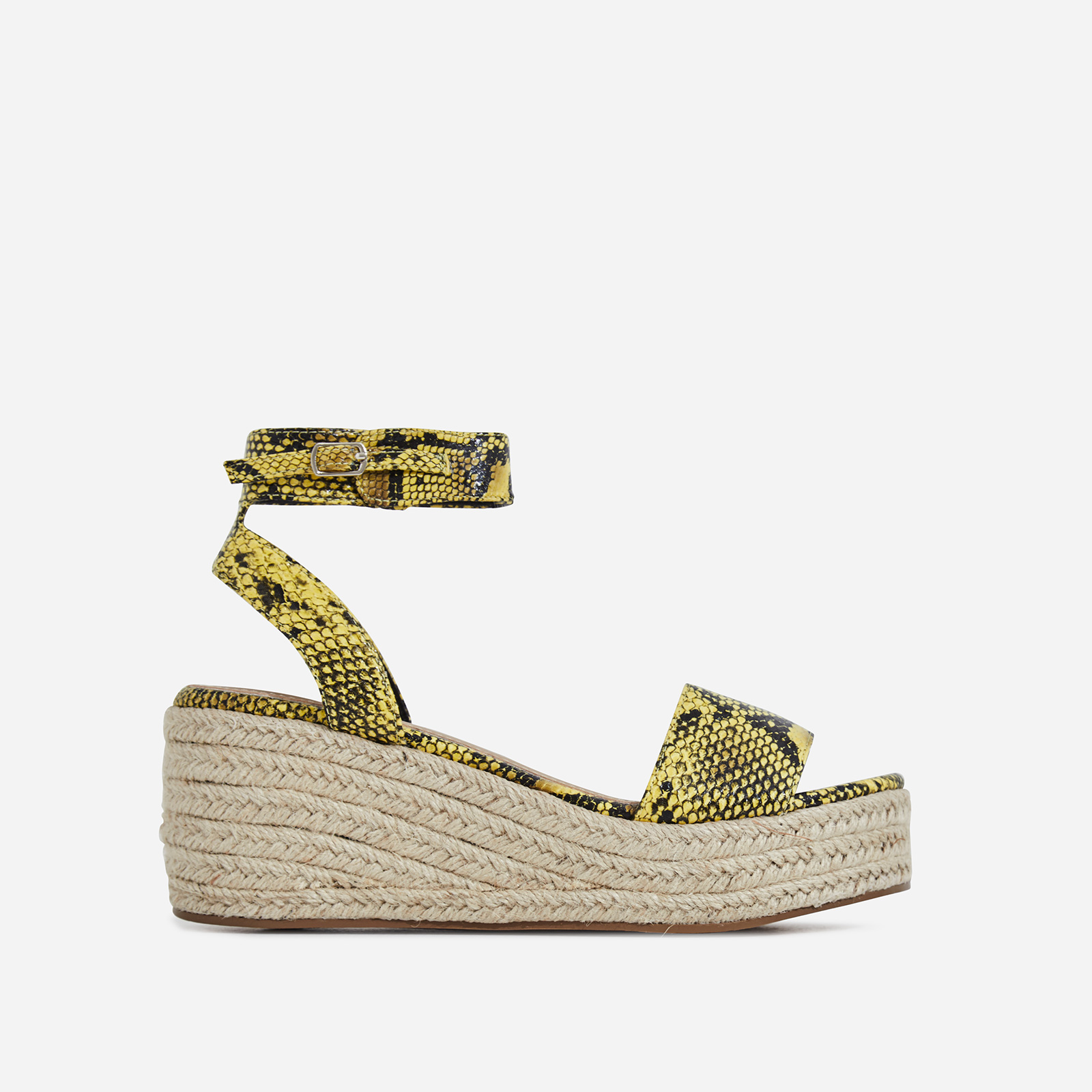Rossi Espadrille Sandal In Yellow Snake Print Faux Leather