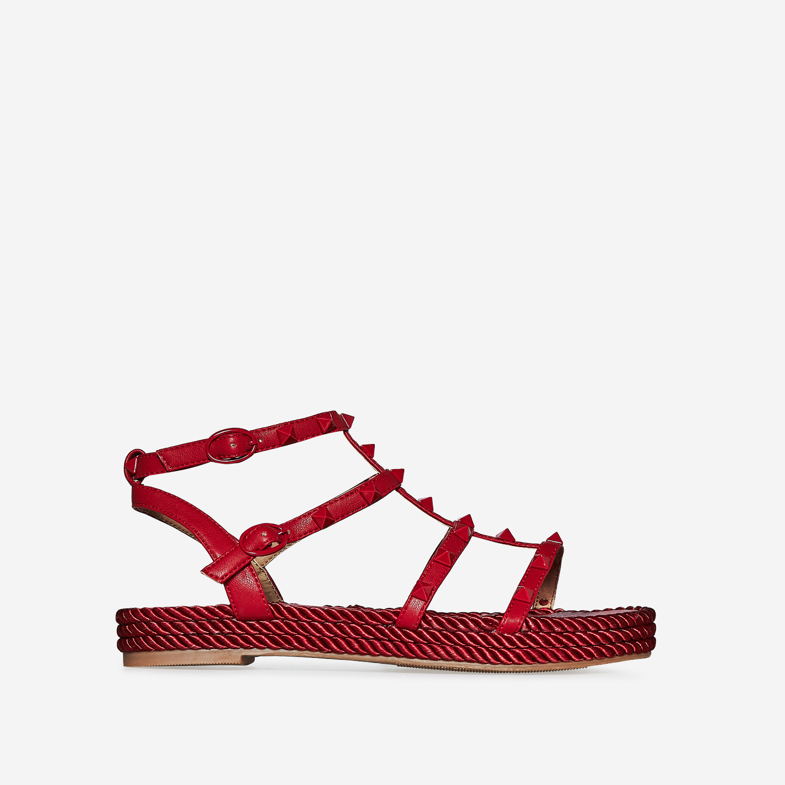 Emery Studded Detail Rope Espadrille In Red Faux Leather