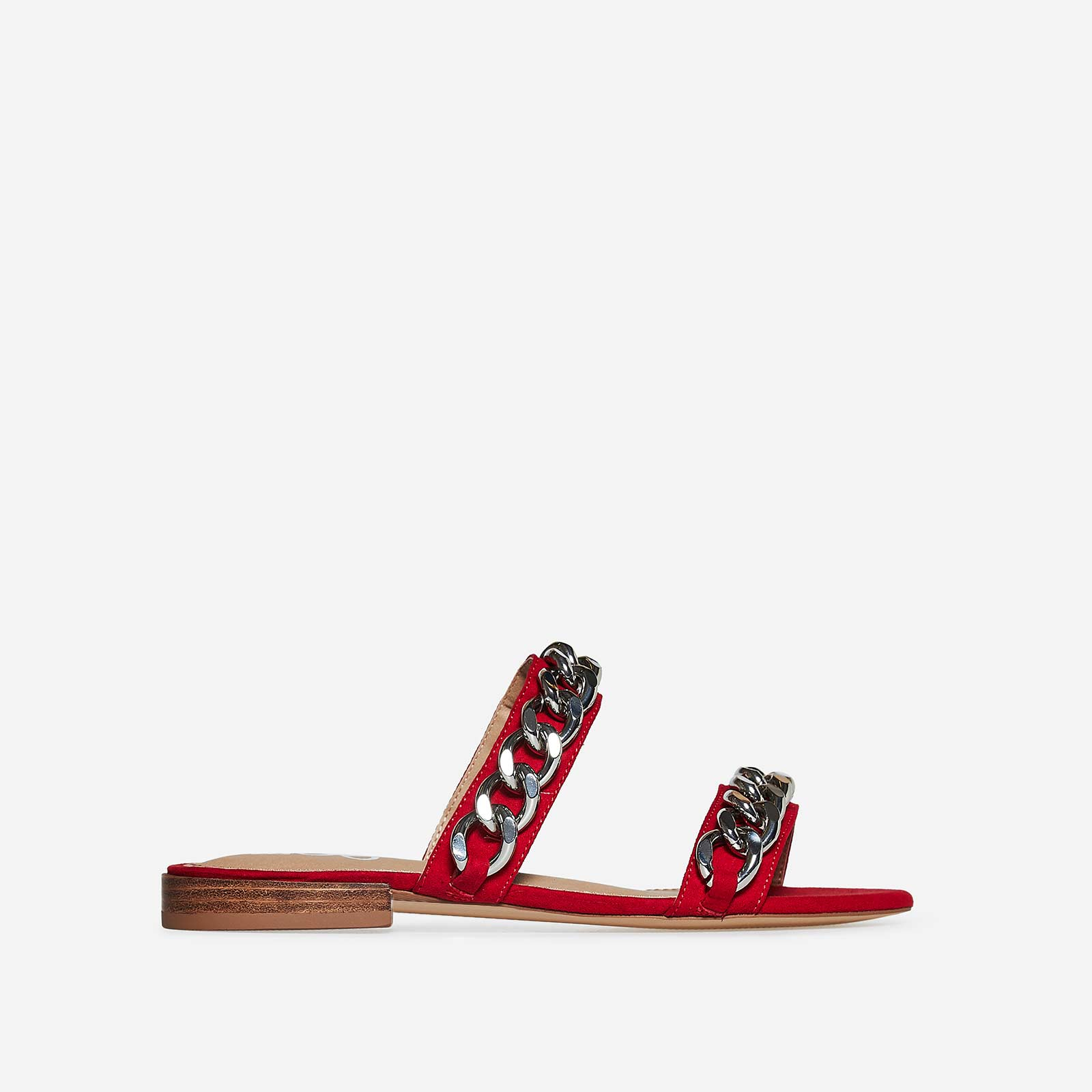 Rumi Silver Chain Detail Slider In Red Faux Suede