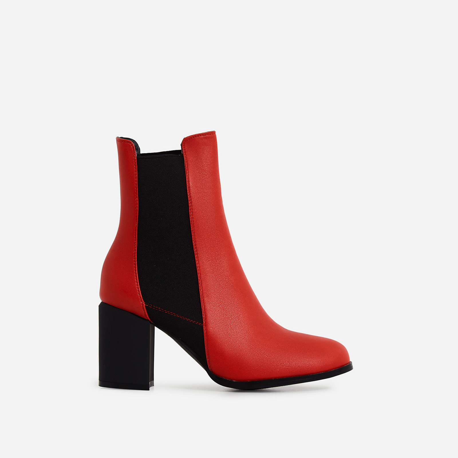 Runa Elasticated Block Heel Ankle Boot In Red Faux Leather