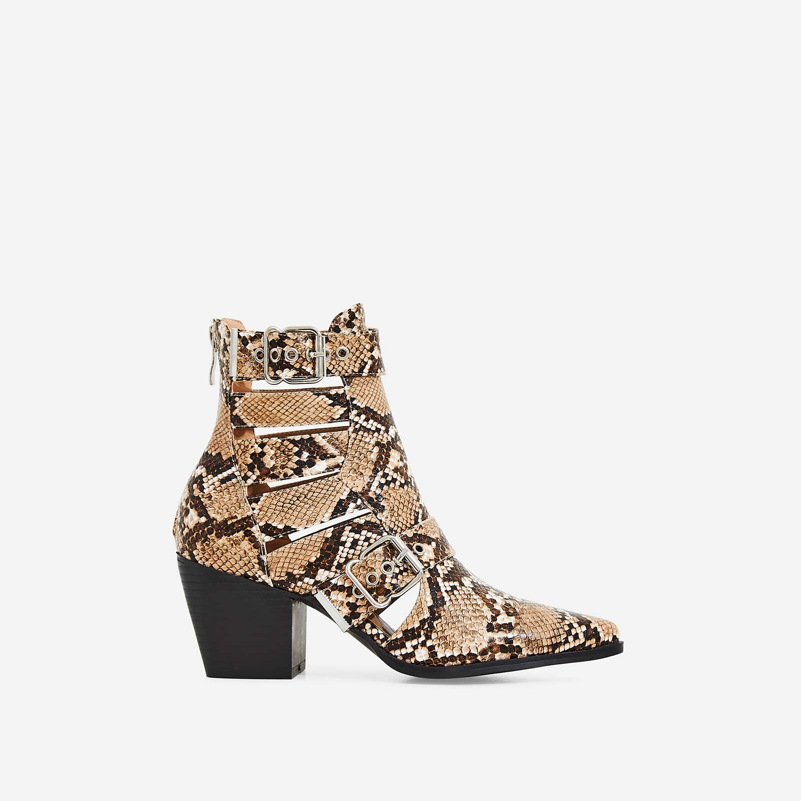 Ryder Cut Out Western Ankle Boot In Nude Snake Print Faux Leather