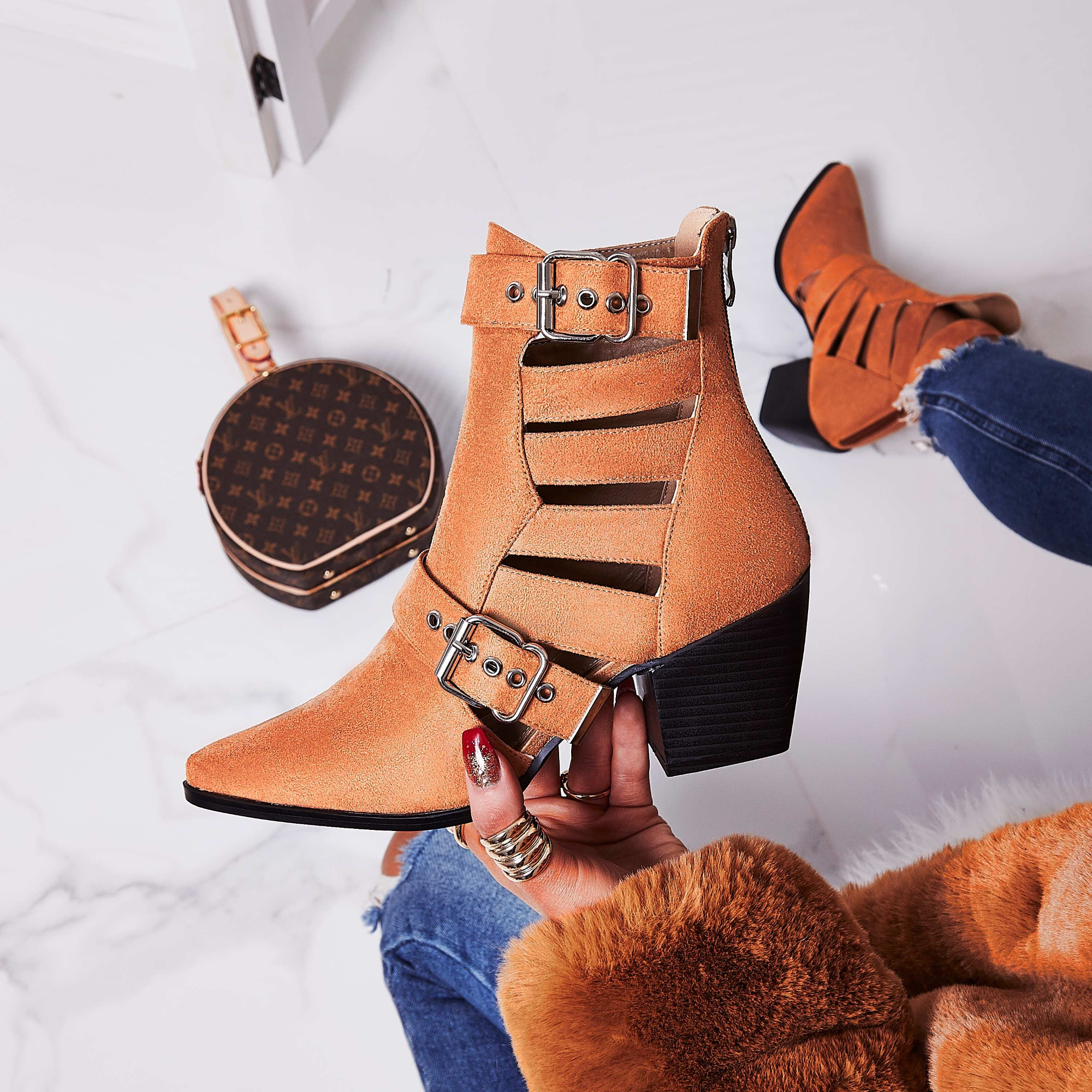 Ryder Cut Out Western Ankle Boot In Tan Faux Suede