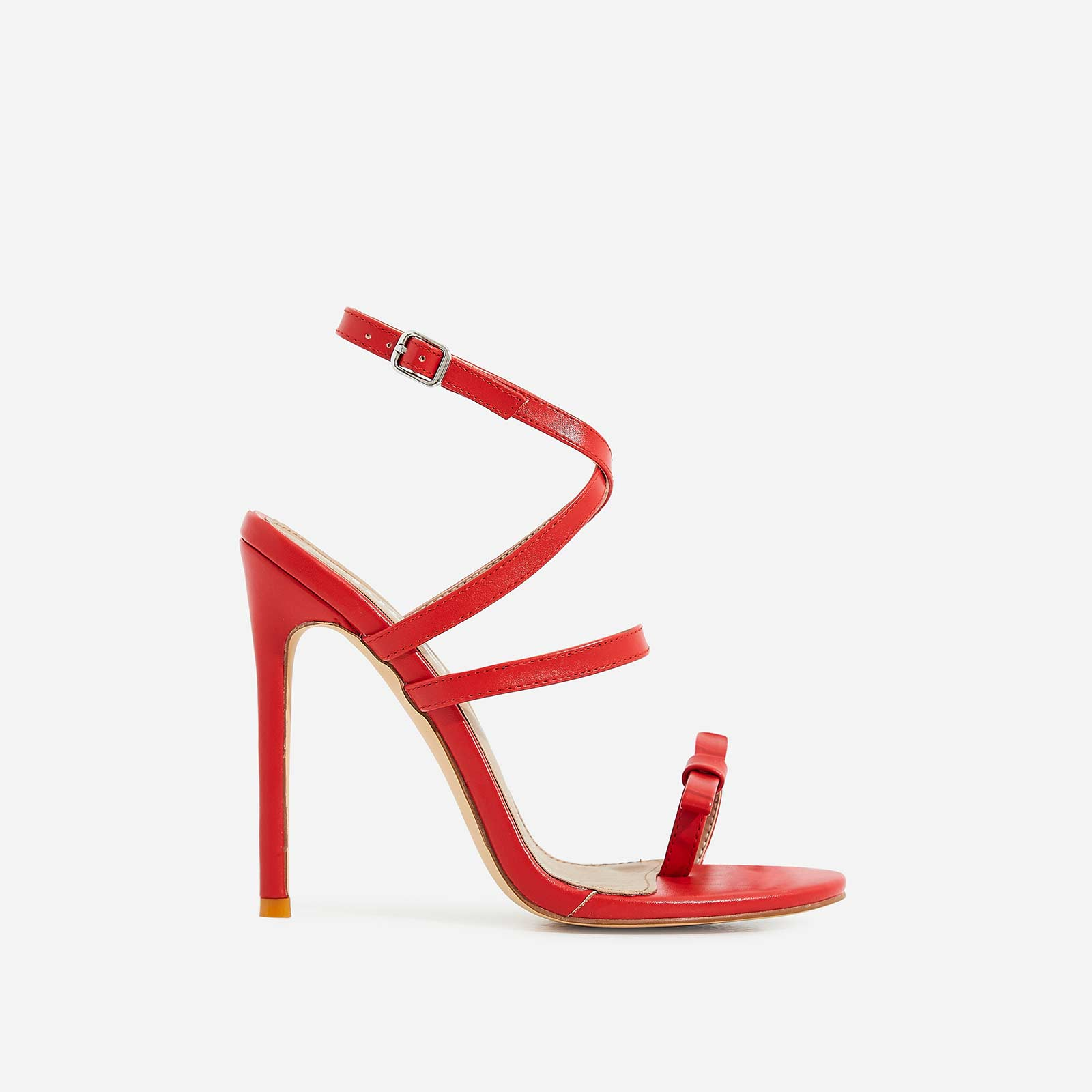 Samira Bow Detail Barely There Heel In Red Faux Leather