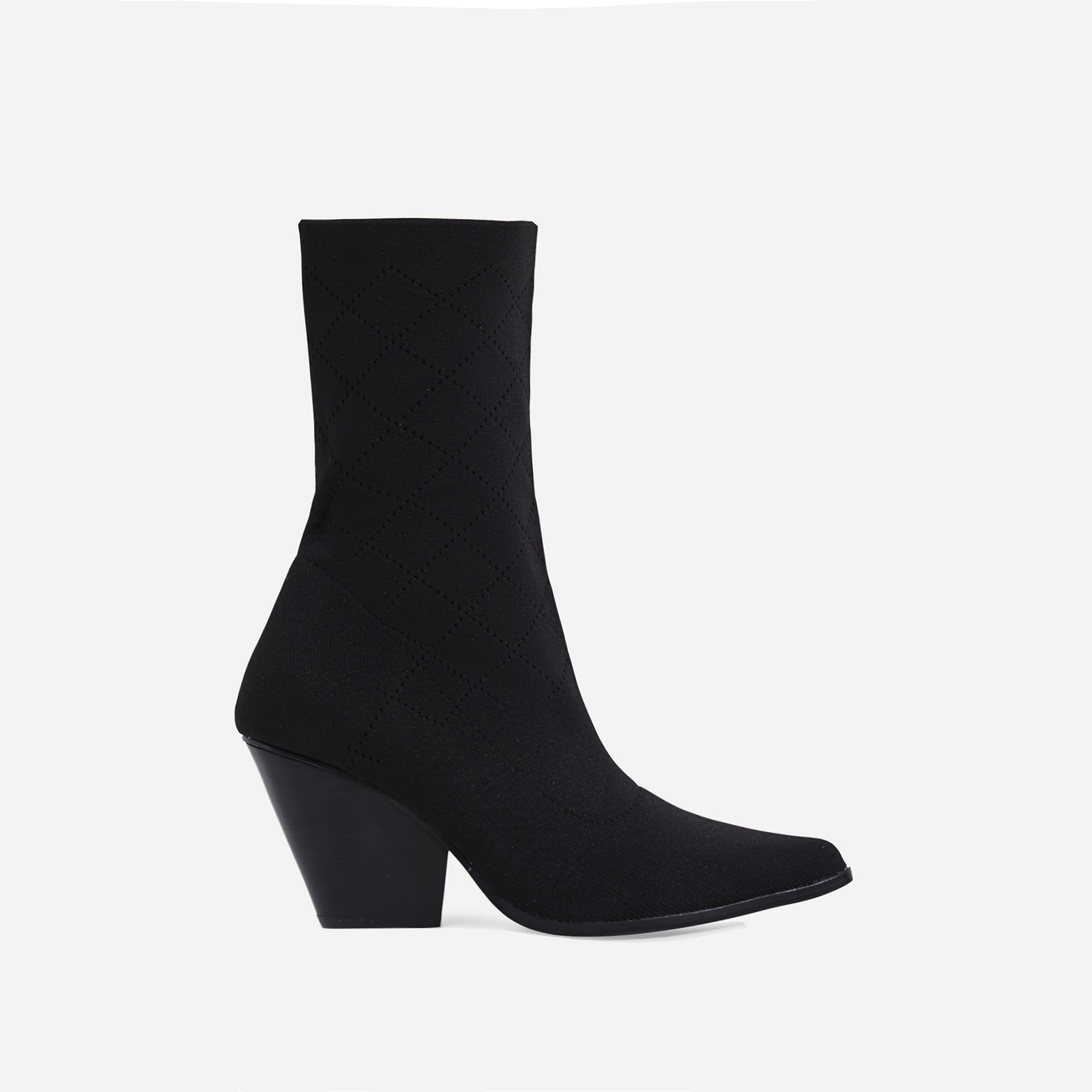 Sammy Block Heel Sock Western Ankle Boot In Black Knit