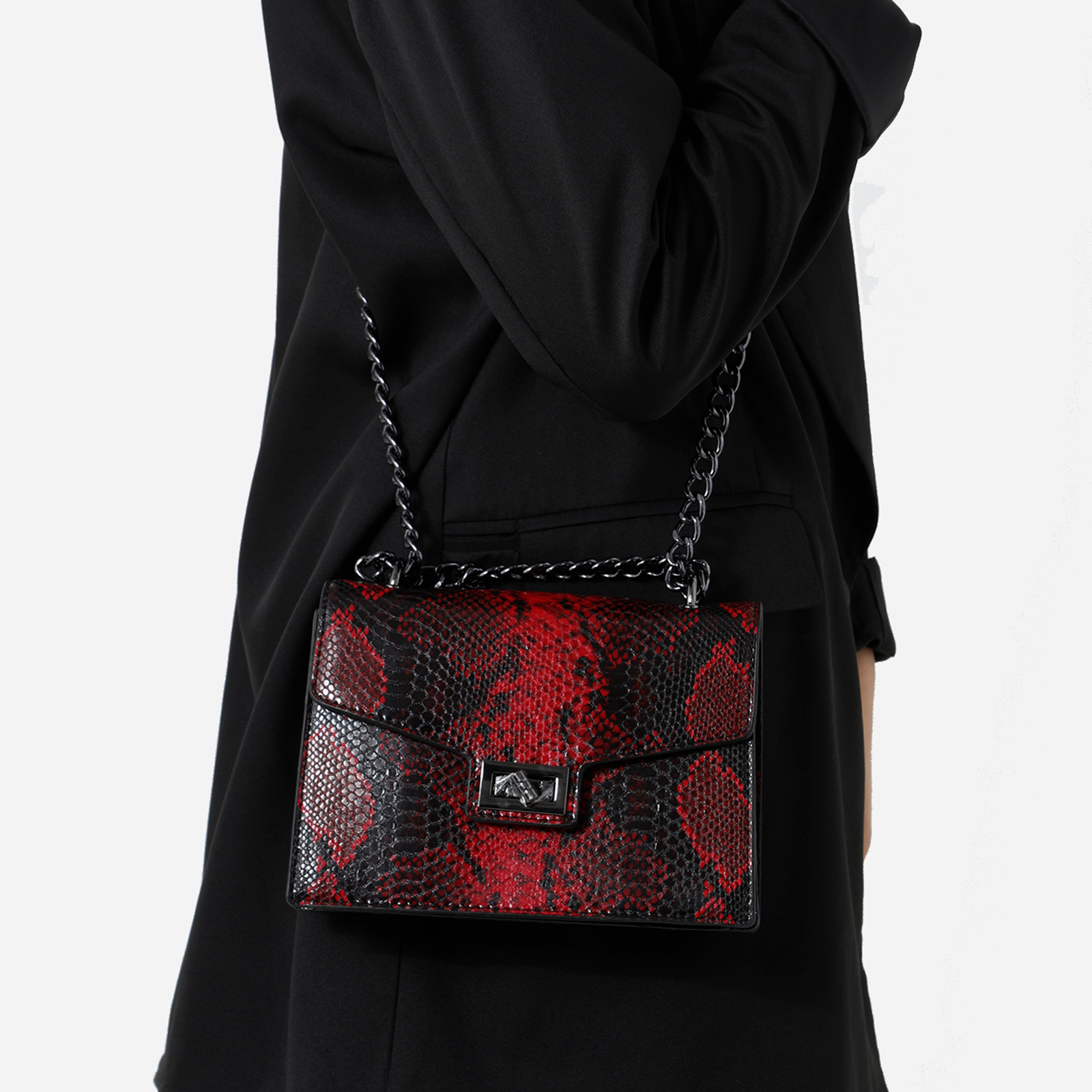 Chain Detail Cross Body Bag In Red Snake Print Faux Leather