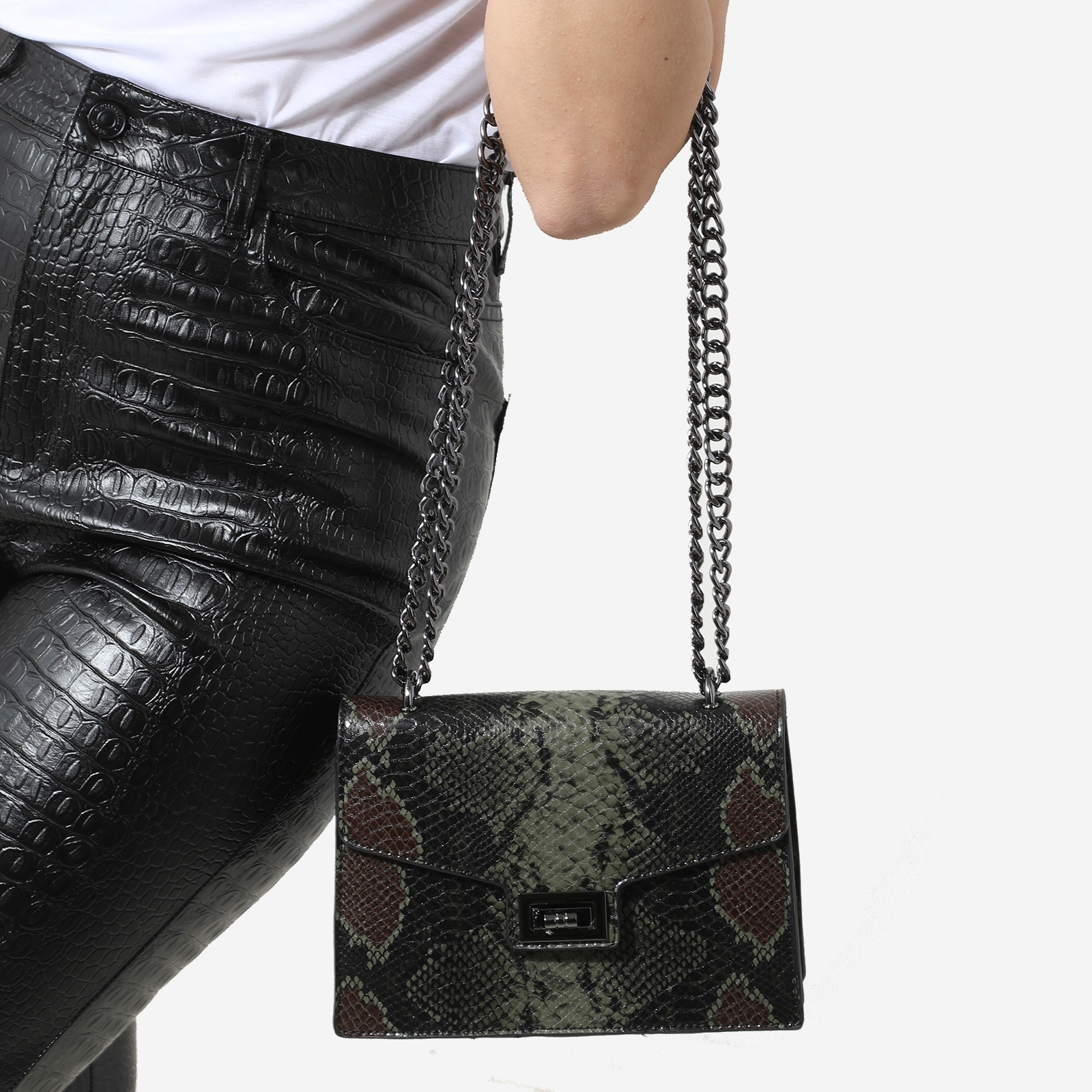 Chain Detail Cross Body Bag In Green Snake Print Faux Leather