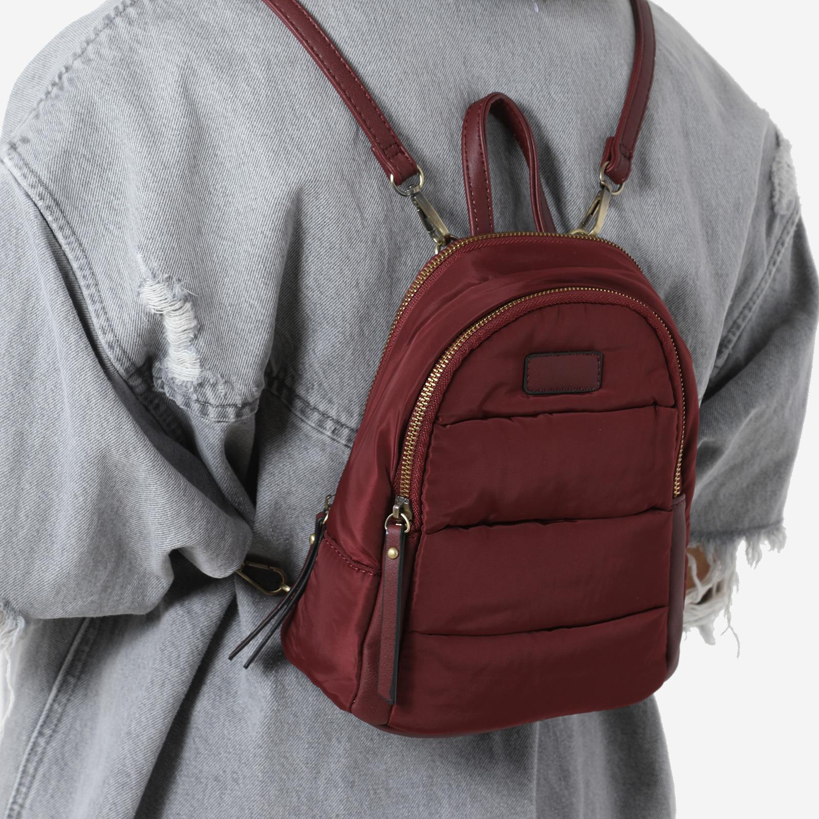 Mini Back Pack In Burgundy Nylon