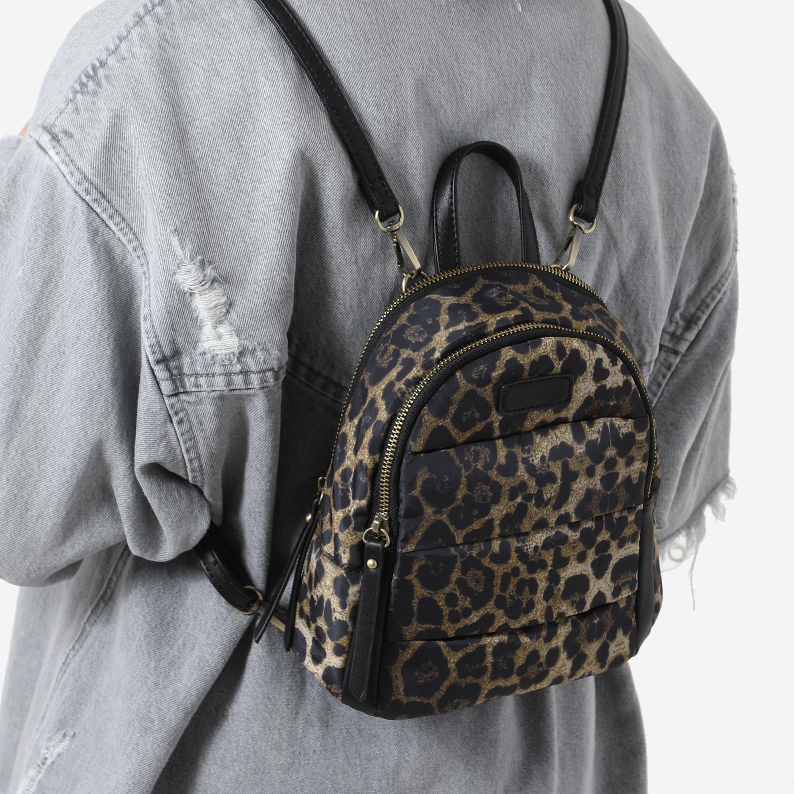 Mini Back Pack In Leopard Print Nylon