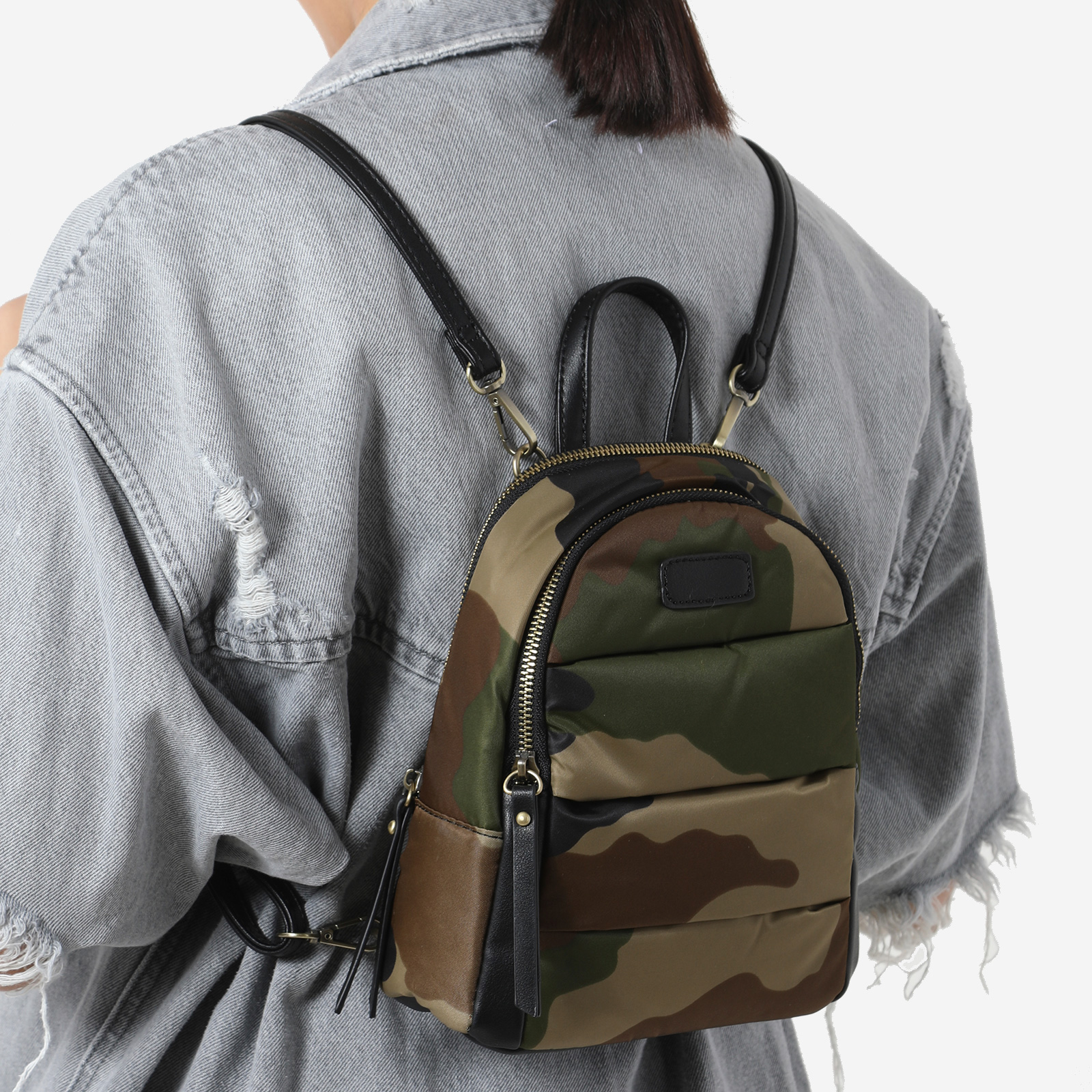 Mini Back Pack In Green Camo Print Nylon