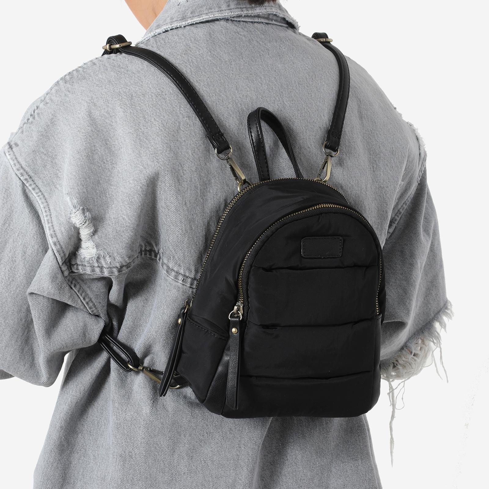 Mini Back Pack In Black Nylon
