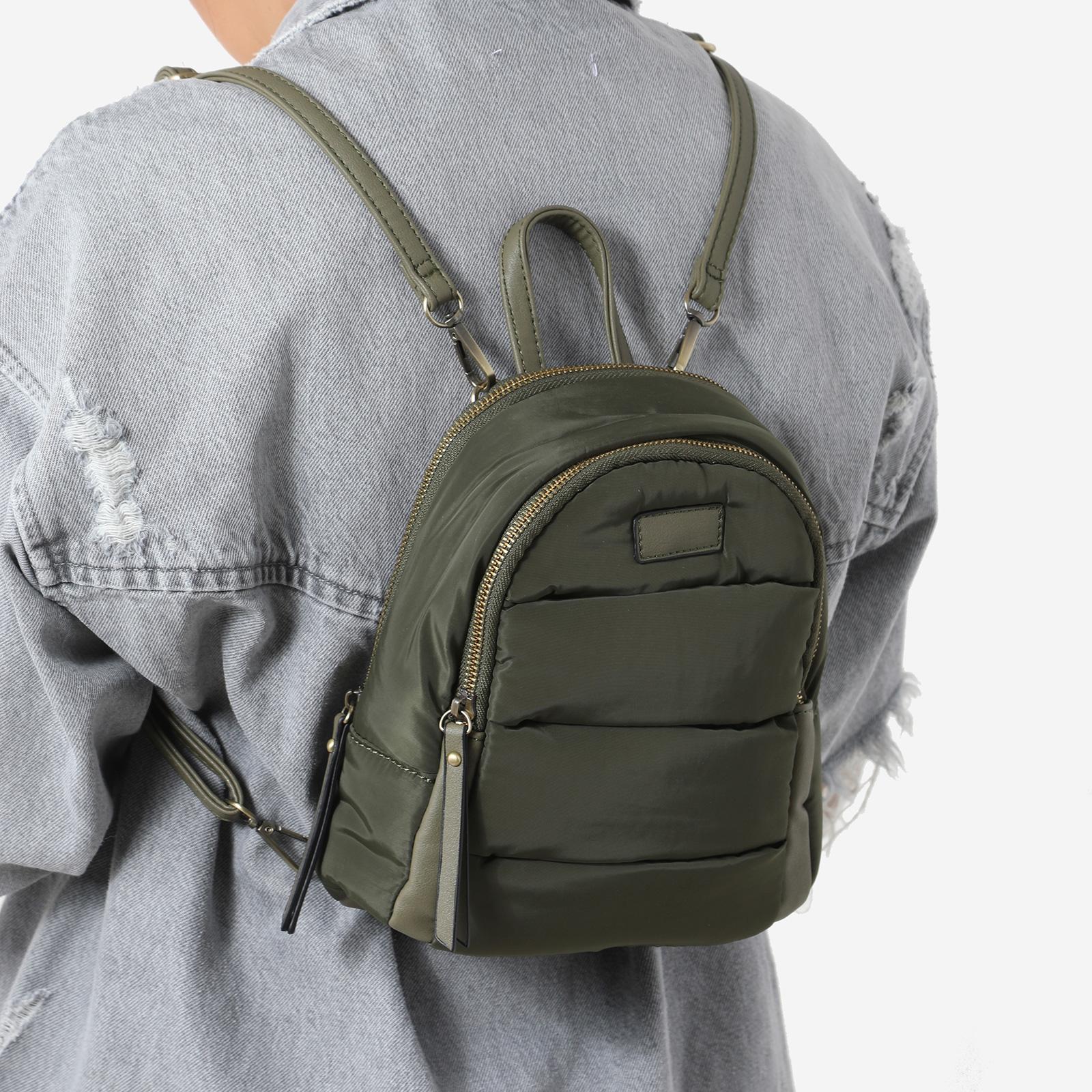 Mini Back Pack In Green Nylon