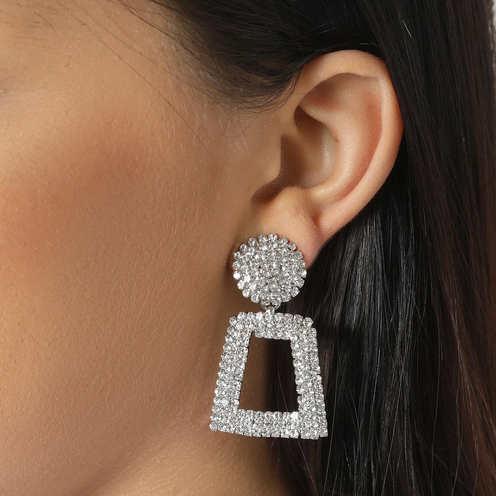 Diamante Square Drop Earrings In Silver