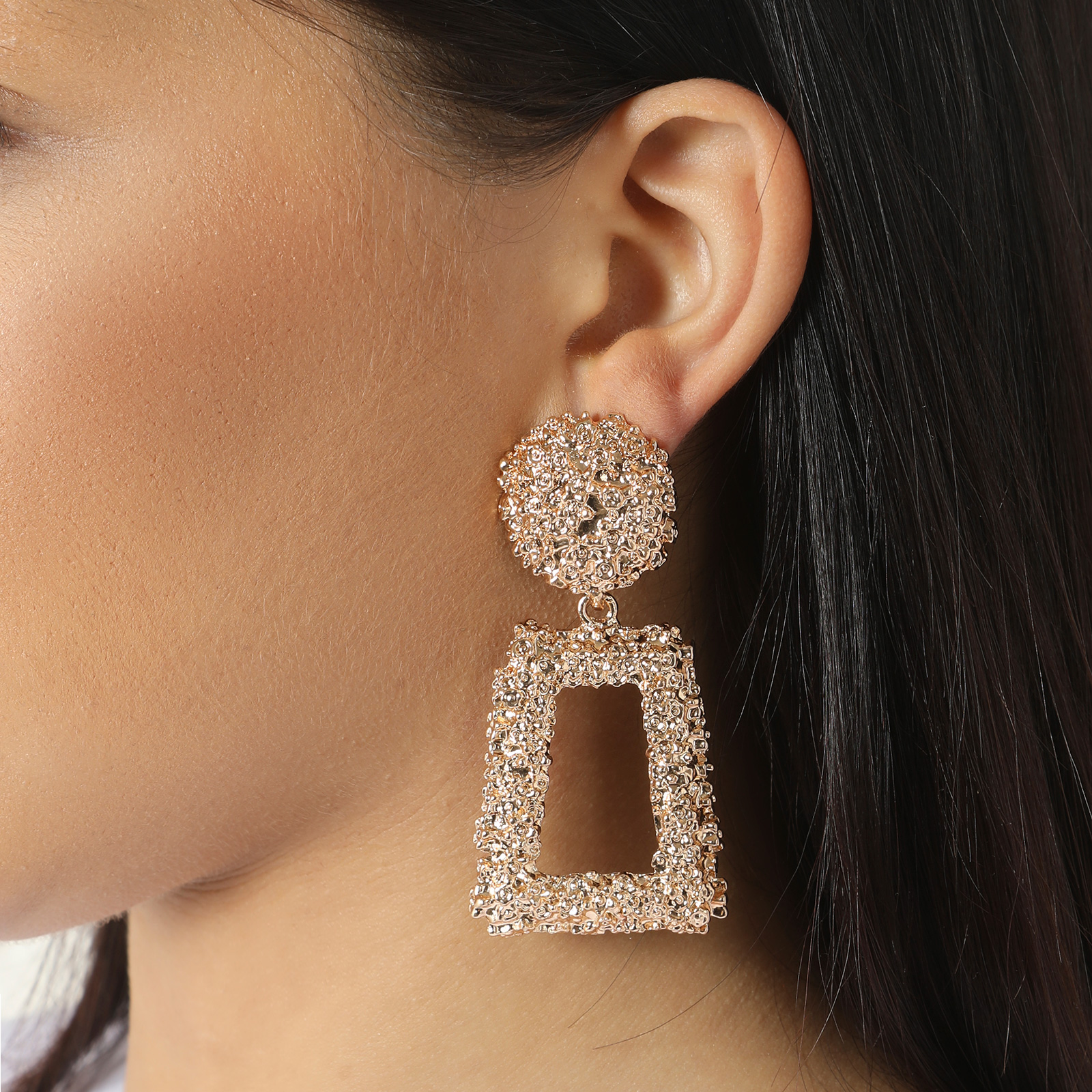 Hammered Effect Square Drop Earrings In Gold