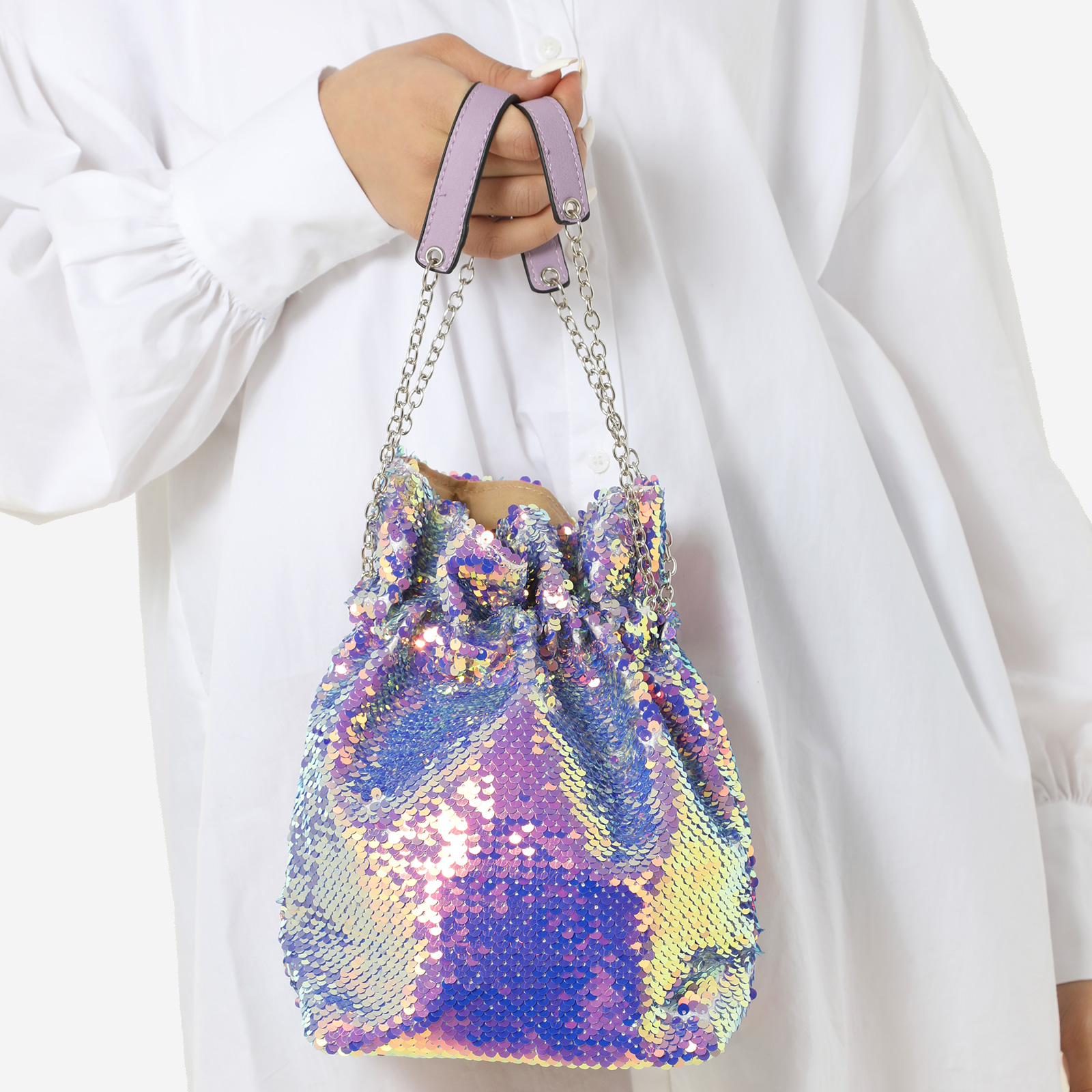 Bucket Bag In Fuchsia Pink Holographic Sequin