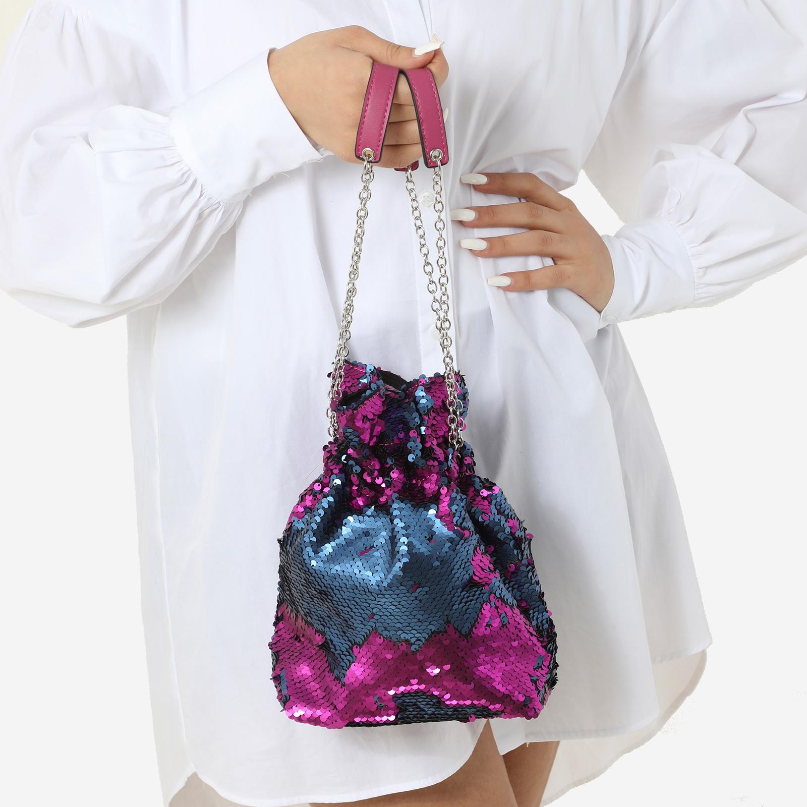 Bucket Bag In Purple Holographic Sequin