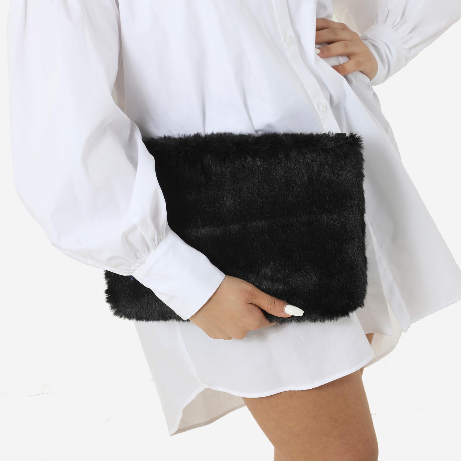 Clutch Bag In Black Faux Fur