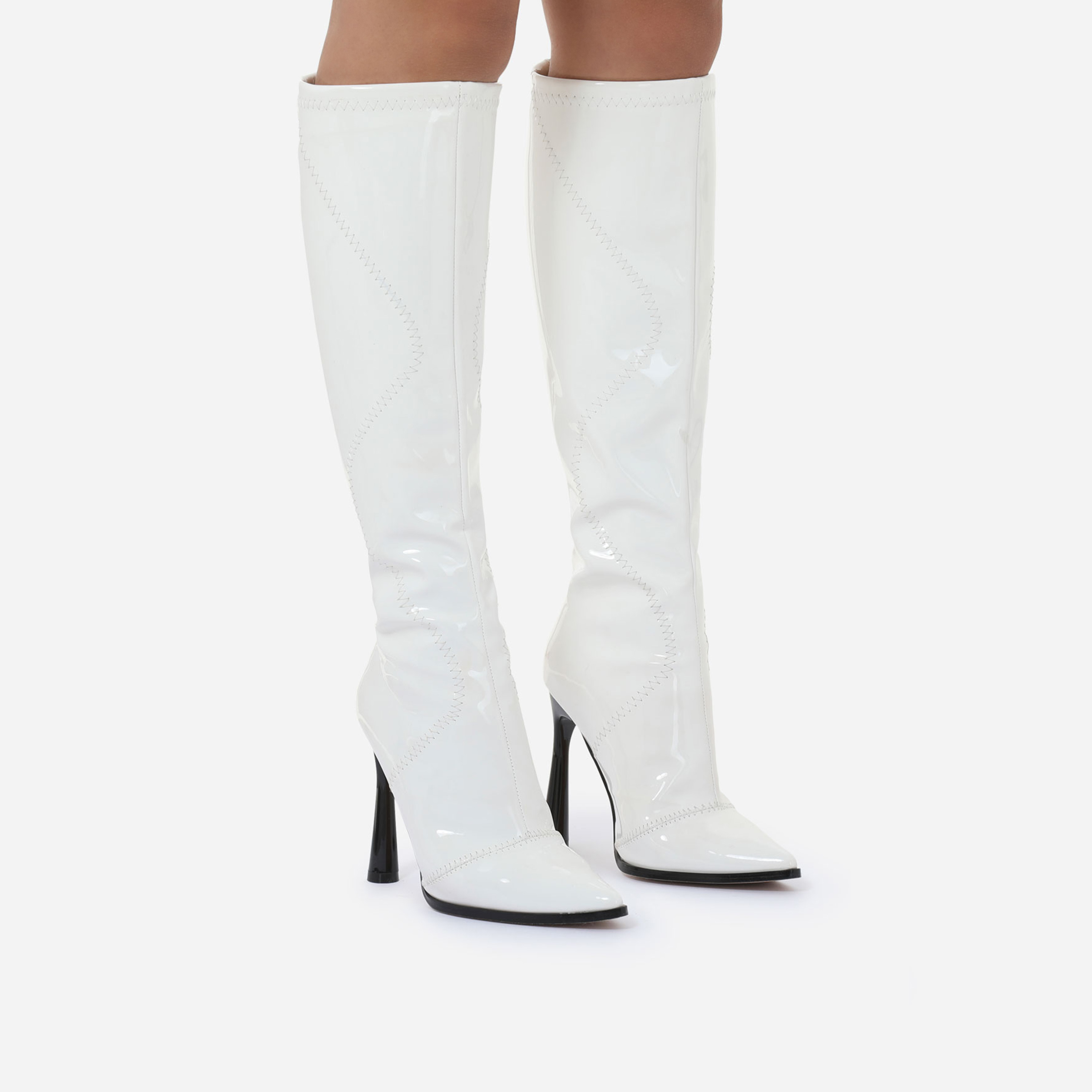 Austin Curved Heel Knee High Long Boot In White Patent