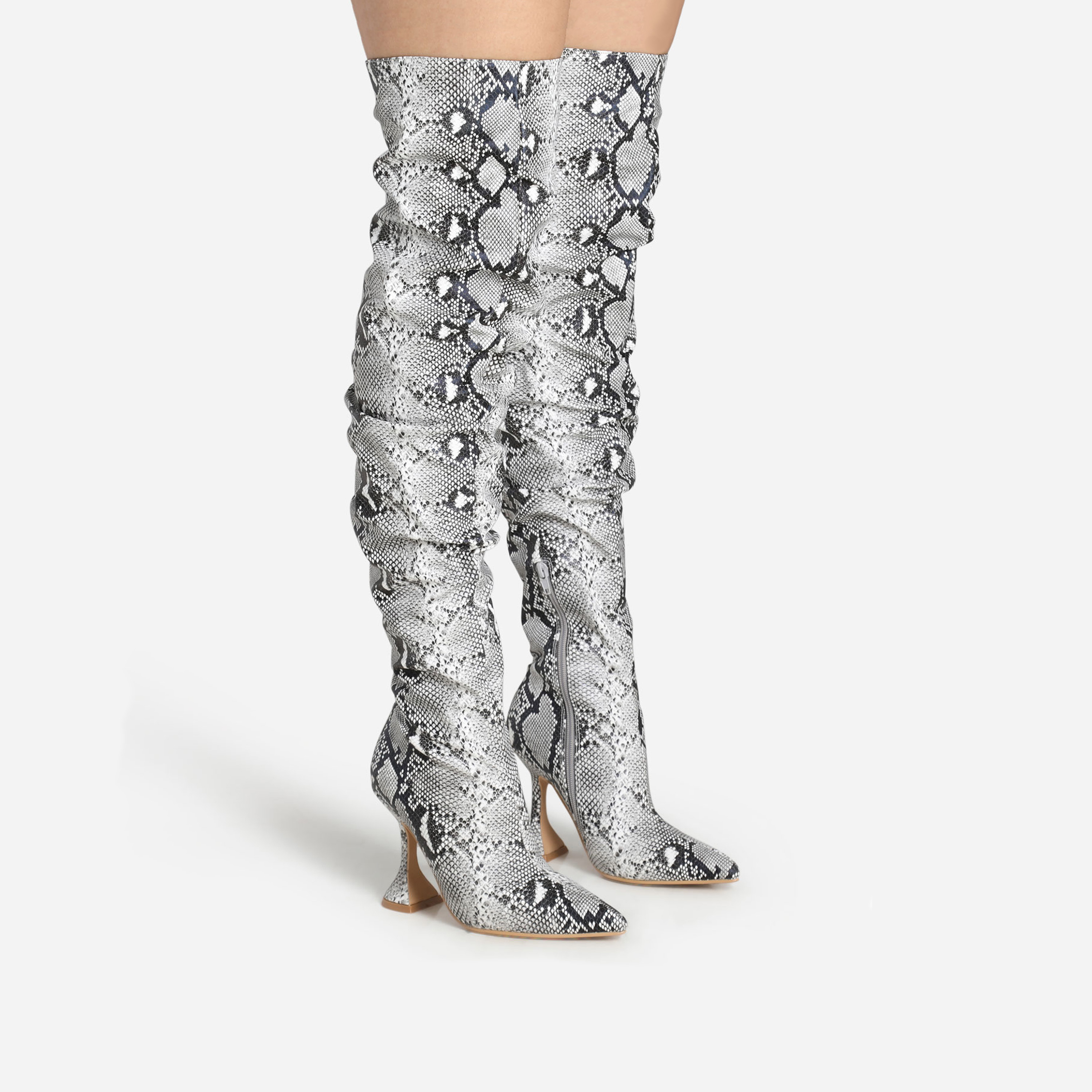 Flight Pyramid Heel Slouched Over The Knee Thigh High Long Boot In Grey Snake Print Faux Leather