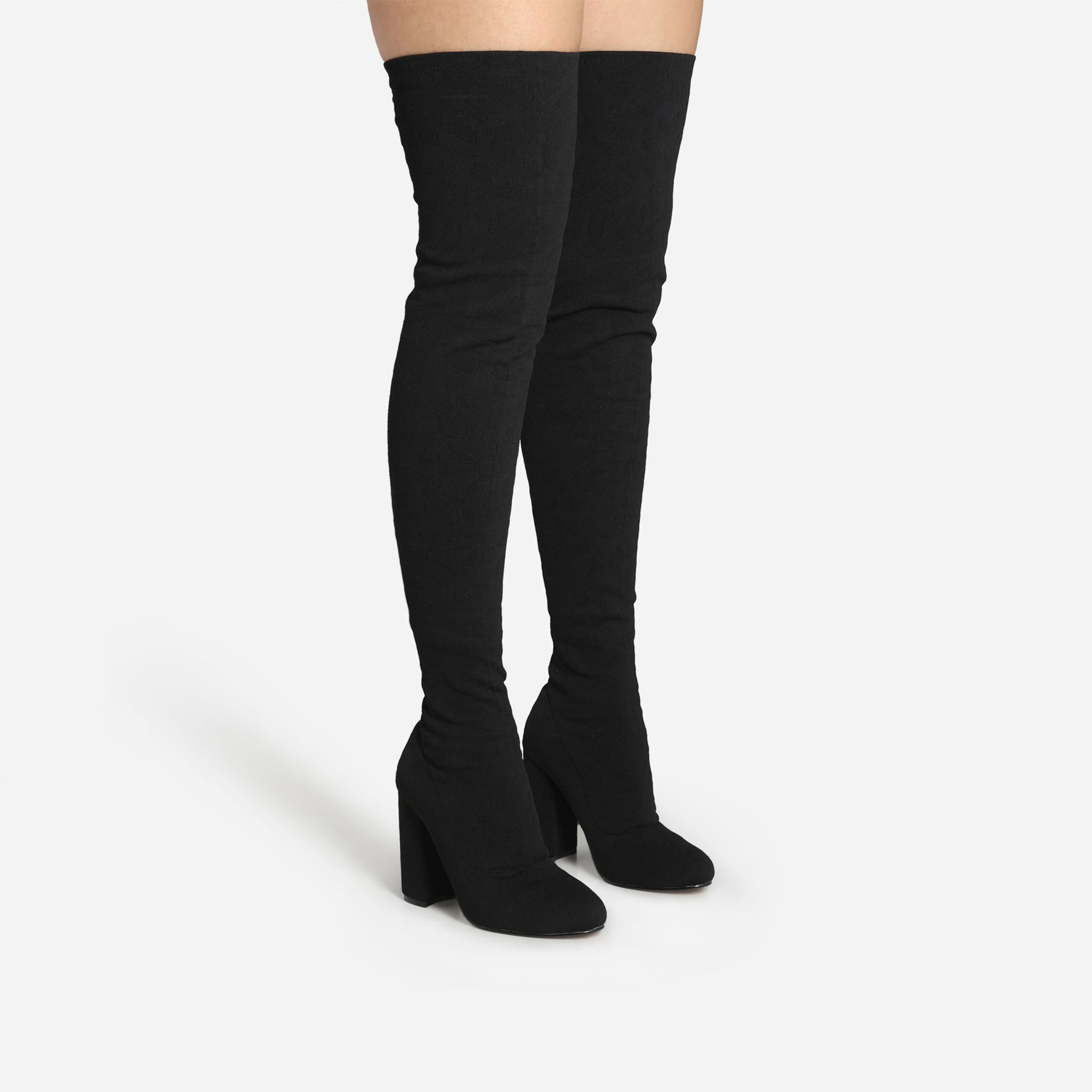Centrefold Over The Knee Thigh High Long Boot In Black Knit