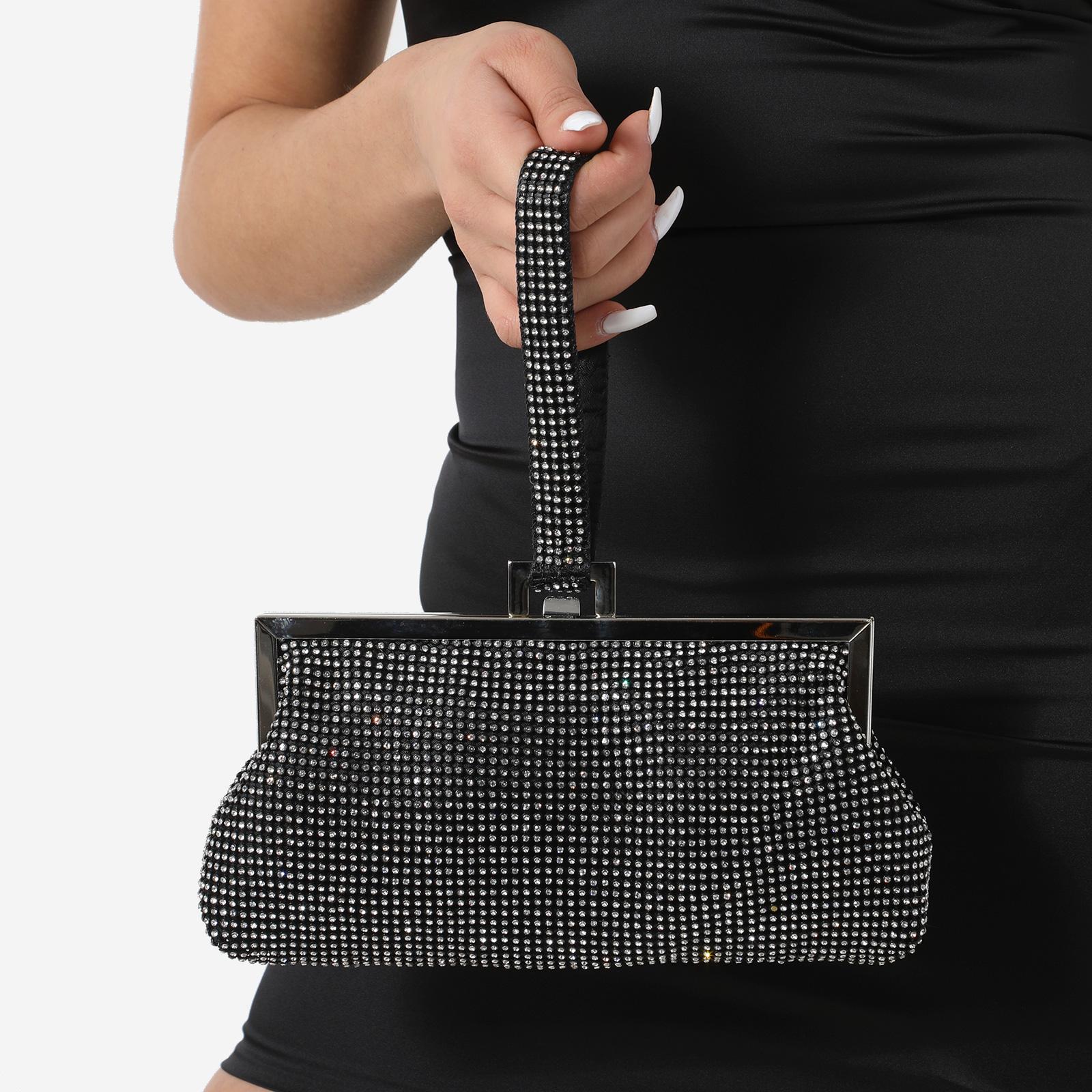 Clutch Bag In Black Diamante