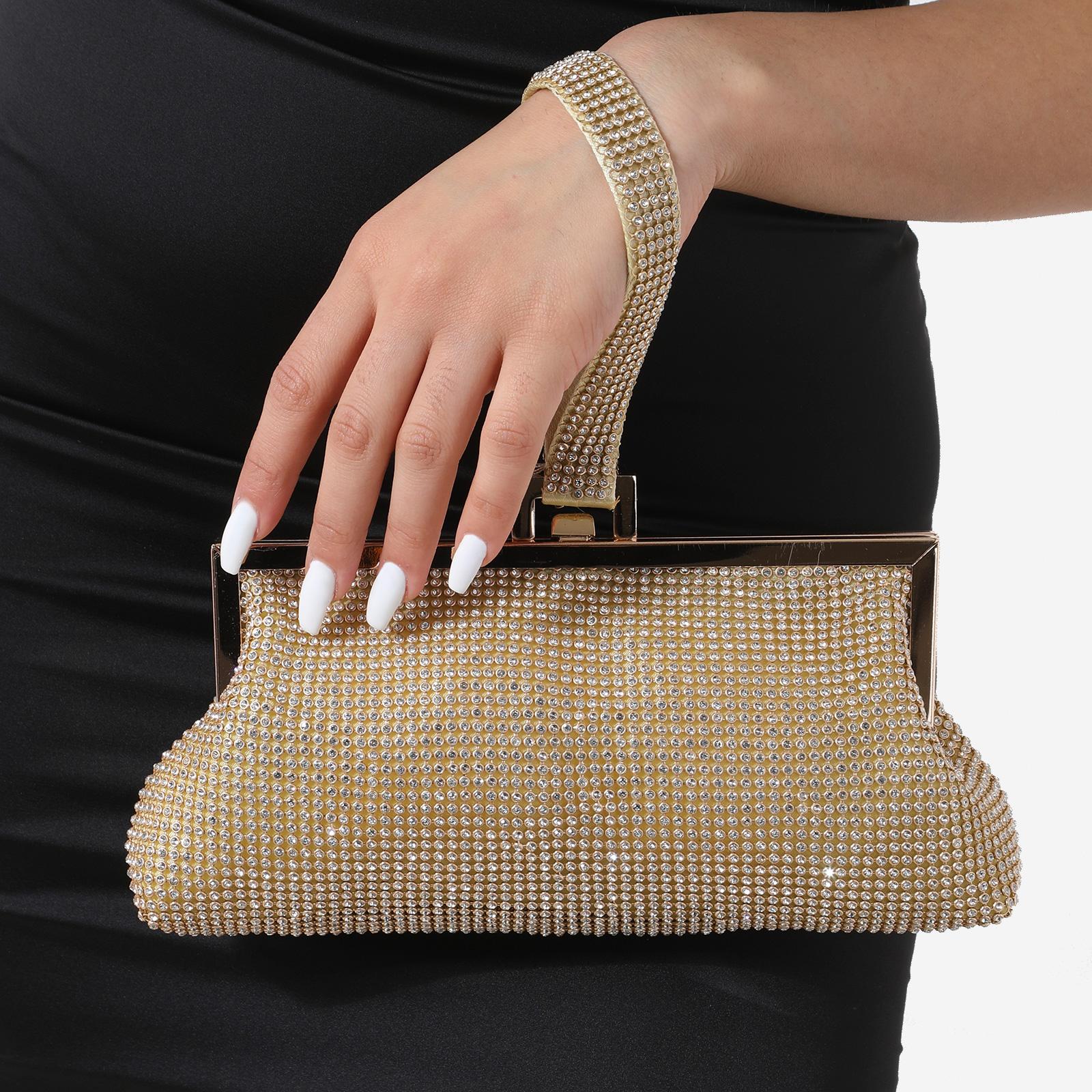 Clutch Bag In Gold Diamante
