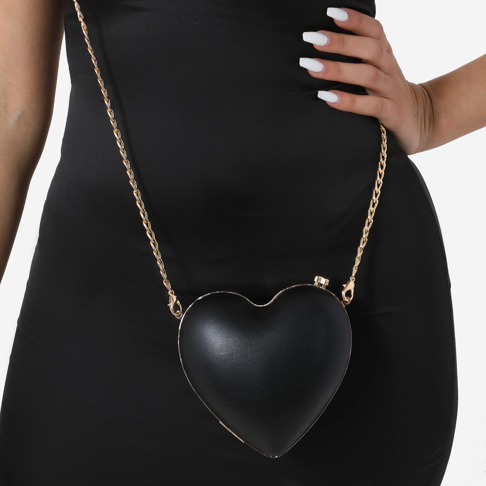 Heart Shape Cross Body Bag In Black Faux Leather