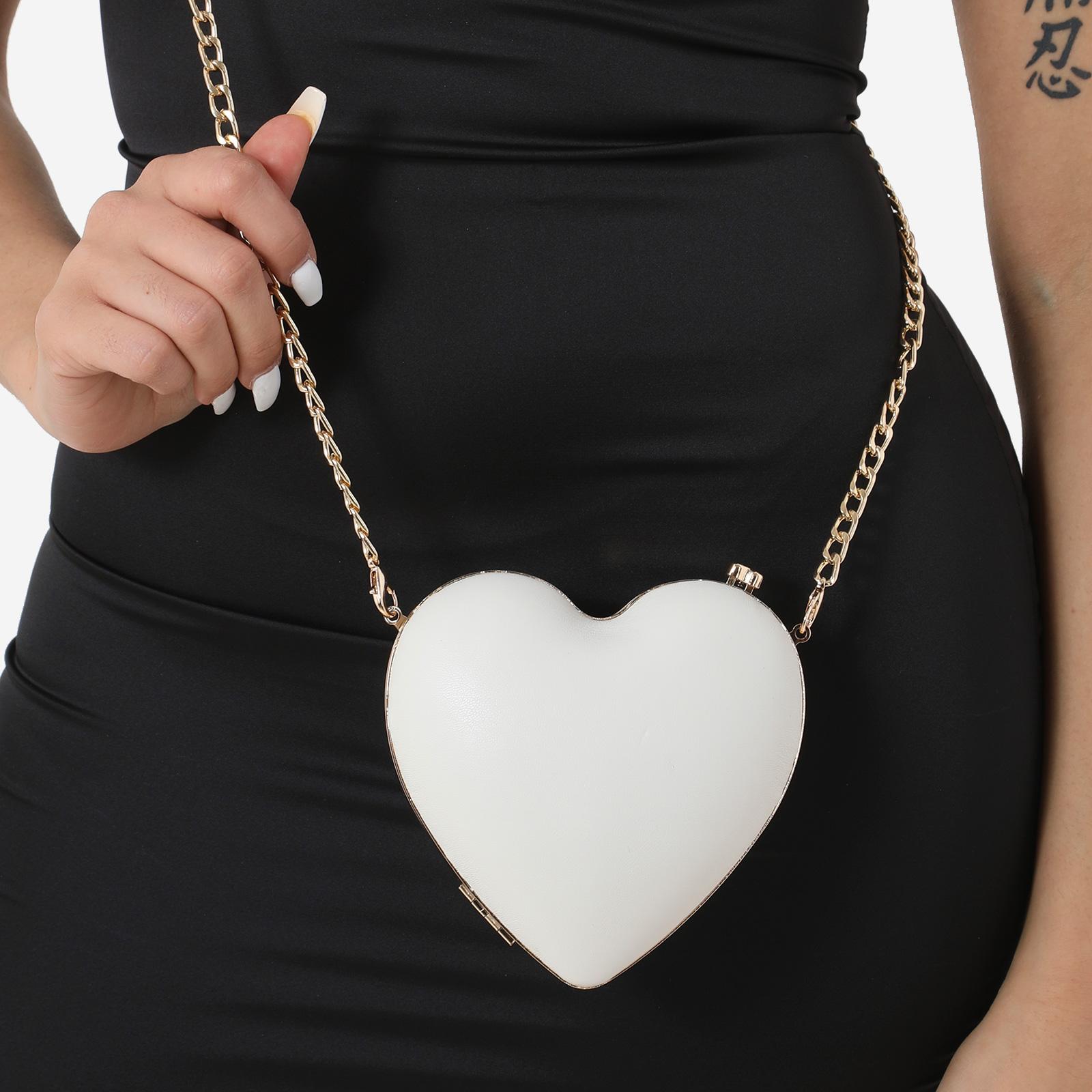 Heart Shape Cross Body Bag In White Faux Leather