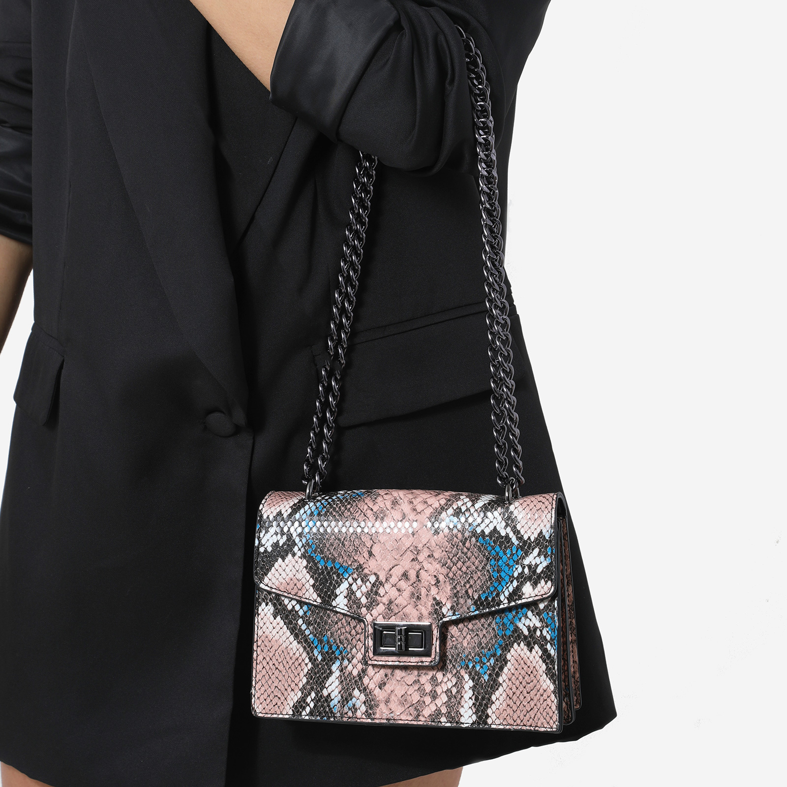 Chain Detail Cross Body Bag In Pink and Blue Snake Print Faux Leather