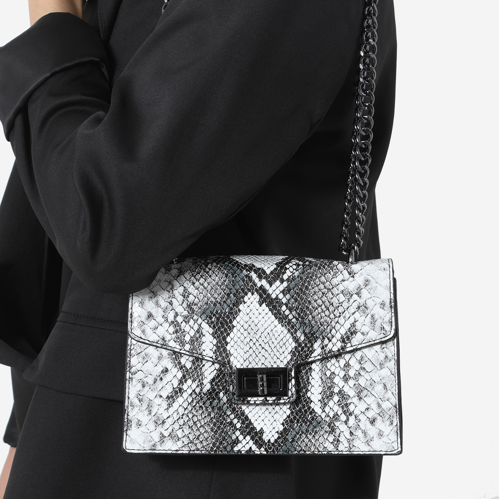 Chain Detail Cross Body Bag In Black And White Snake Print Faux Leather