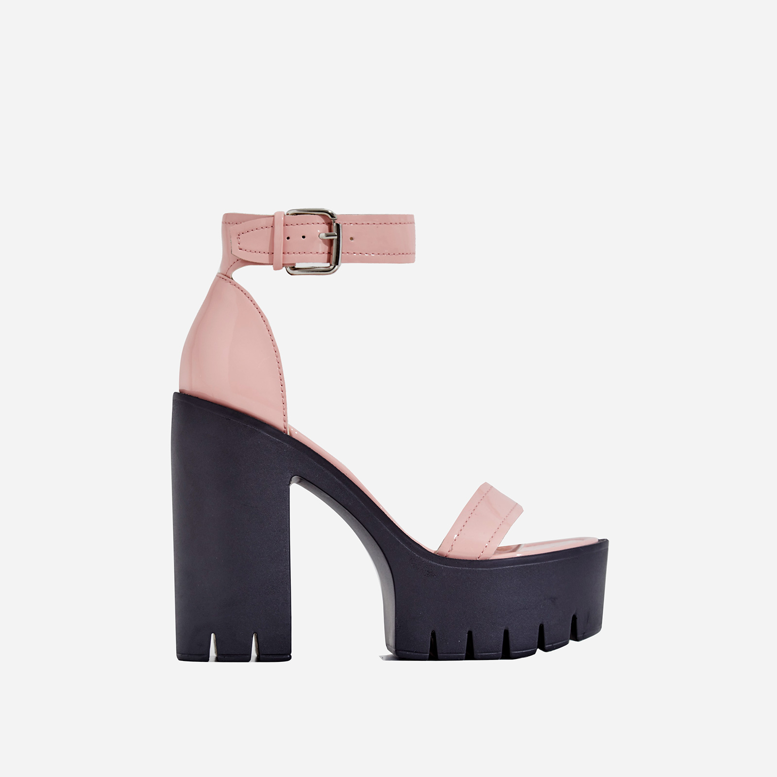 Stormi Platform Cleated Sole Block Heel In Pink Patent