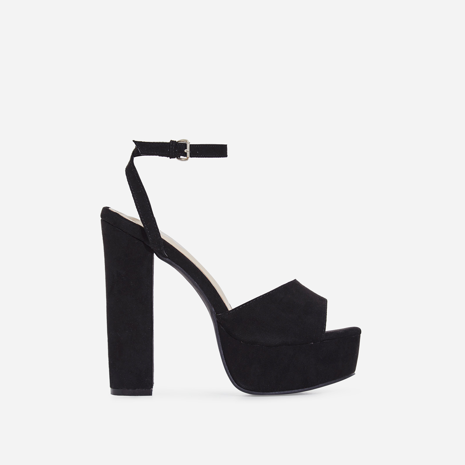Kaci Platform Block Heel In Black Faux Suede