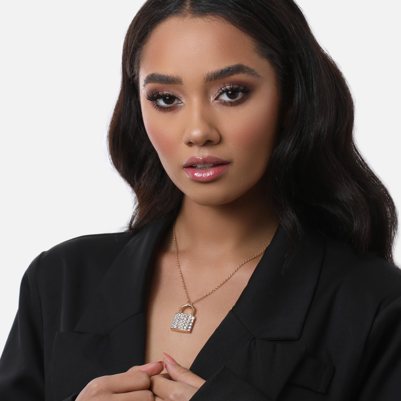 Diamante Detail Padlock Necklace In Gold