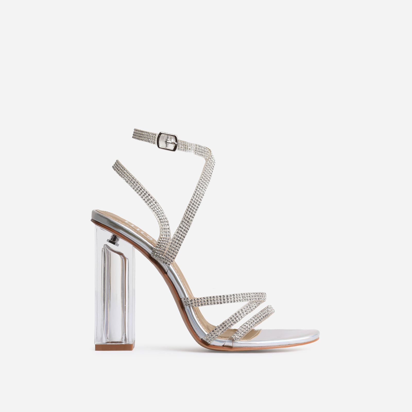 Dash Diamante Detail Perspex Block Heel In Silver Faux Leather