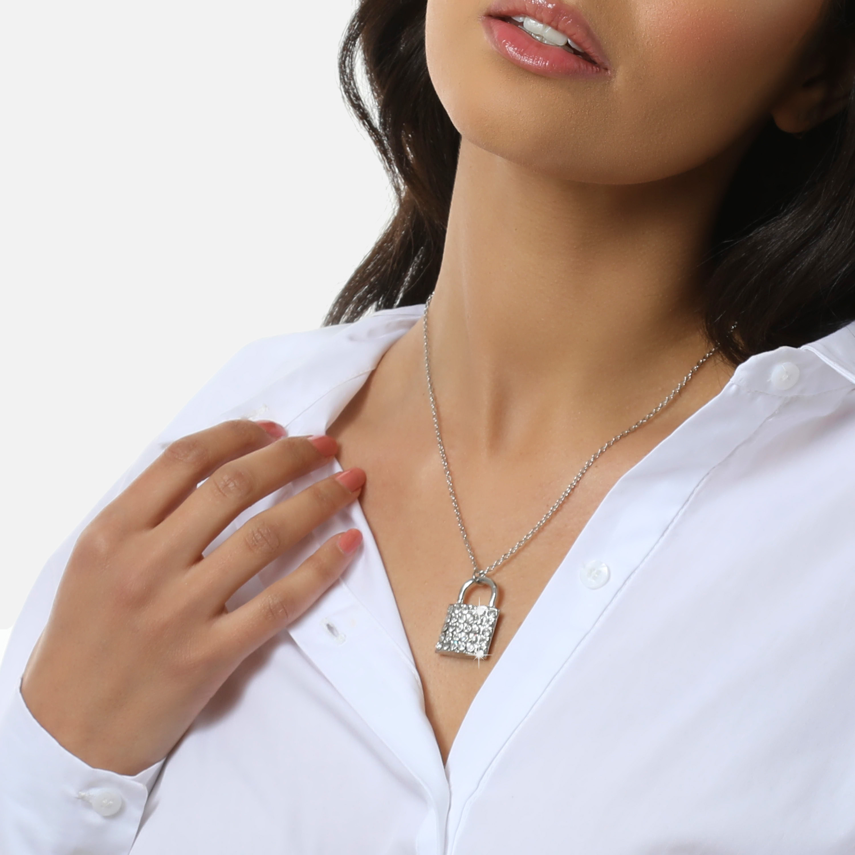 Diamante Detail Padlock Necklace In Silver