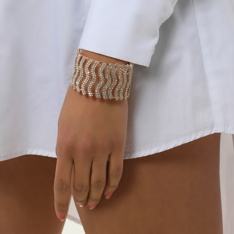 Diamante Detail Cuff Bracelet In Gold