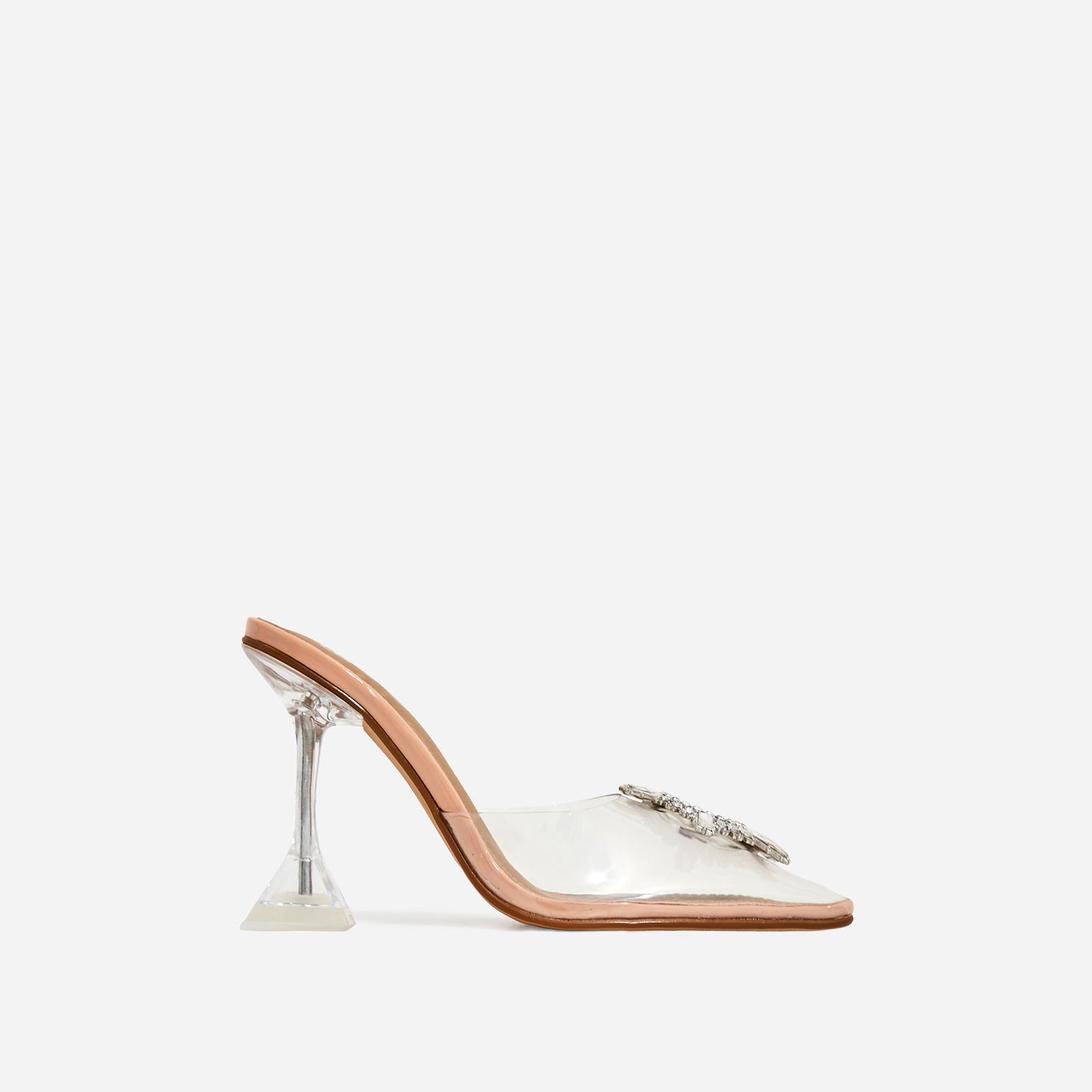 Midnight Diamante Detail Perspex Heel Mule In Nude Patent