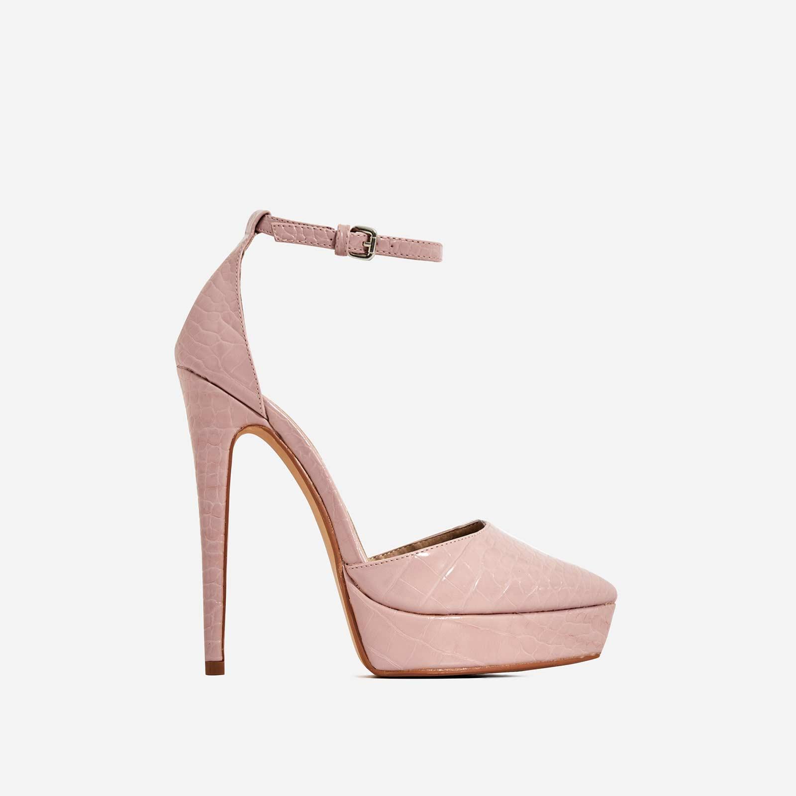 Pleasure Platform Pointed Toe Heel In Nude Croc Print Faux Leather