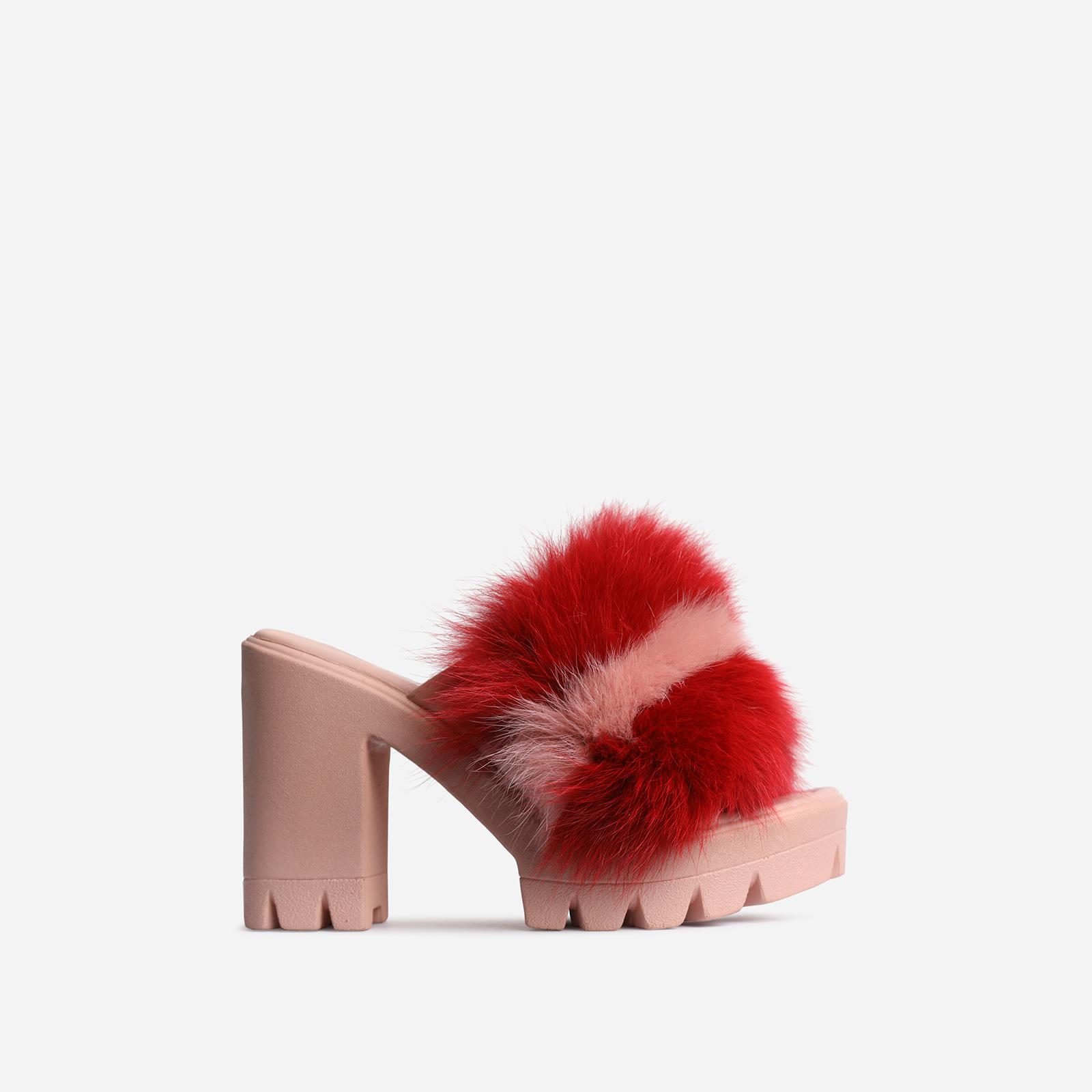 Sassy Platform Peep Toe Heel Mule In Pink Faux Fur