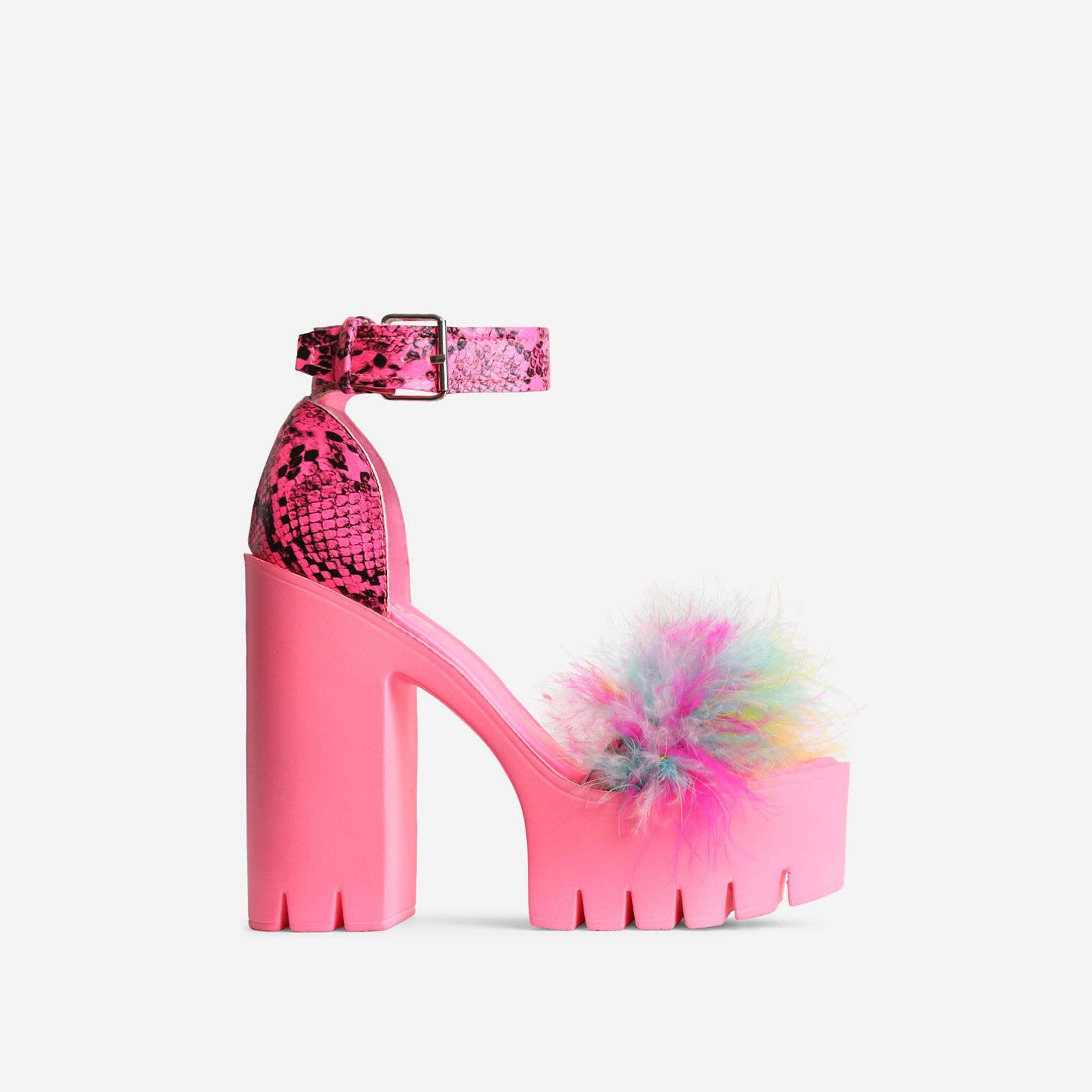 Pepper Platform Multi Faux Fur Detail Block Heel In Pink Snake Print Faux Leather