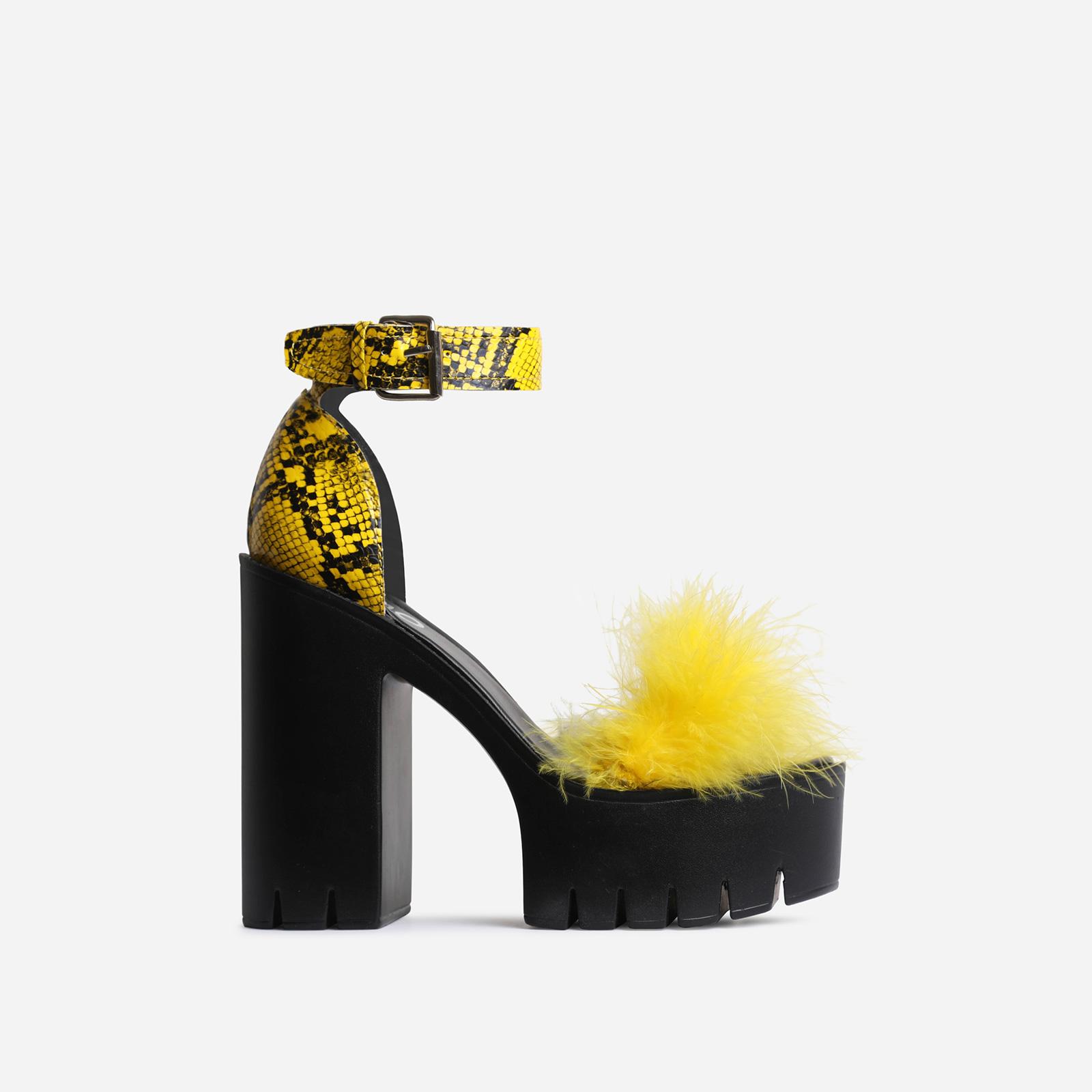 Pepper Platform Faux Fur Detail Block Heel In Yellow Snake Print Faux Leather