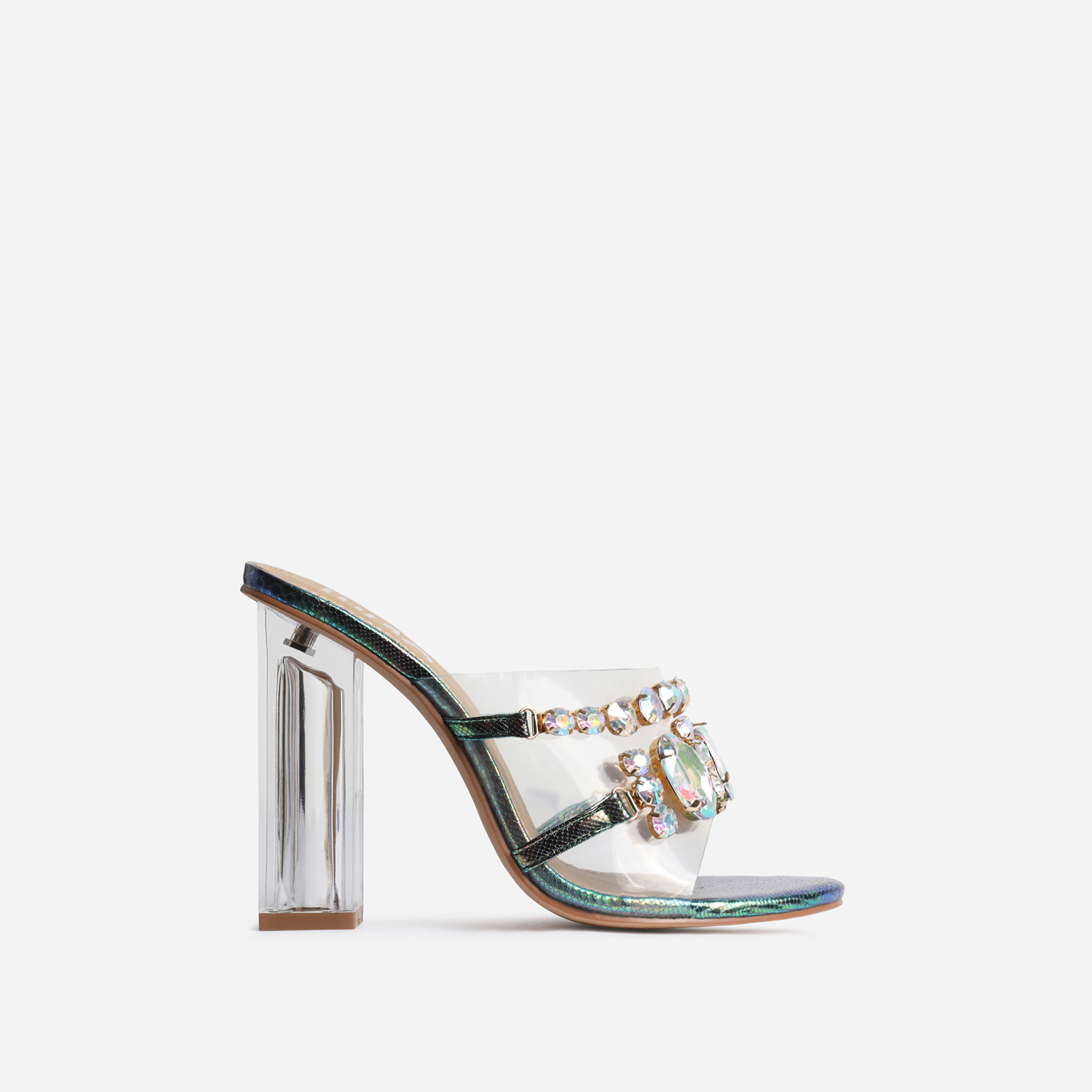 Frost Gem Embellished Clear Perspex Peep Toe Block Heel Mule In Green Snake Print Faux Leather