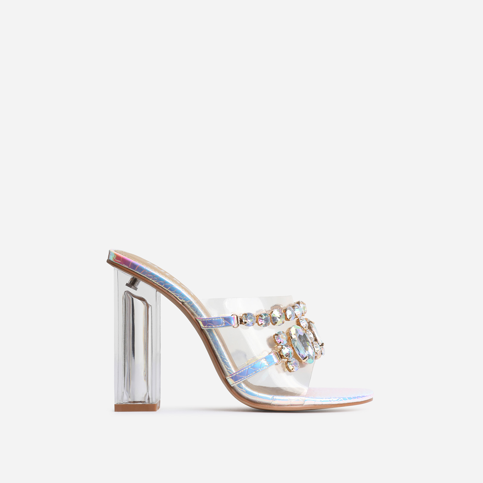 Frost Gem Embellished Perspex Peep Toe Block Heel Mule In Silver Holographic Snake Print Faux Leather