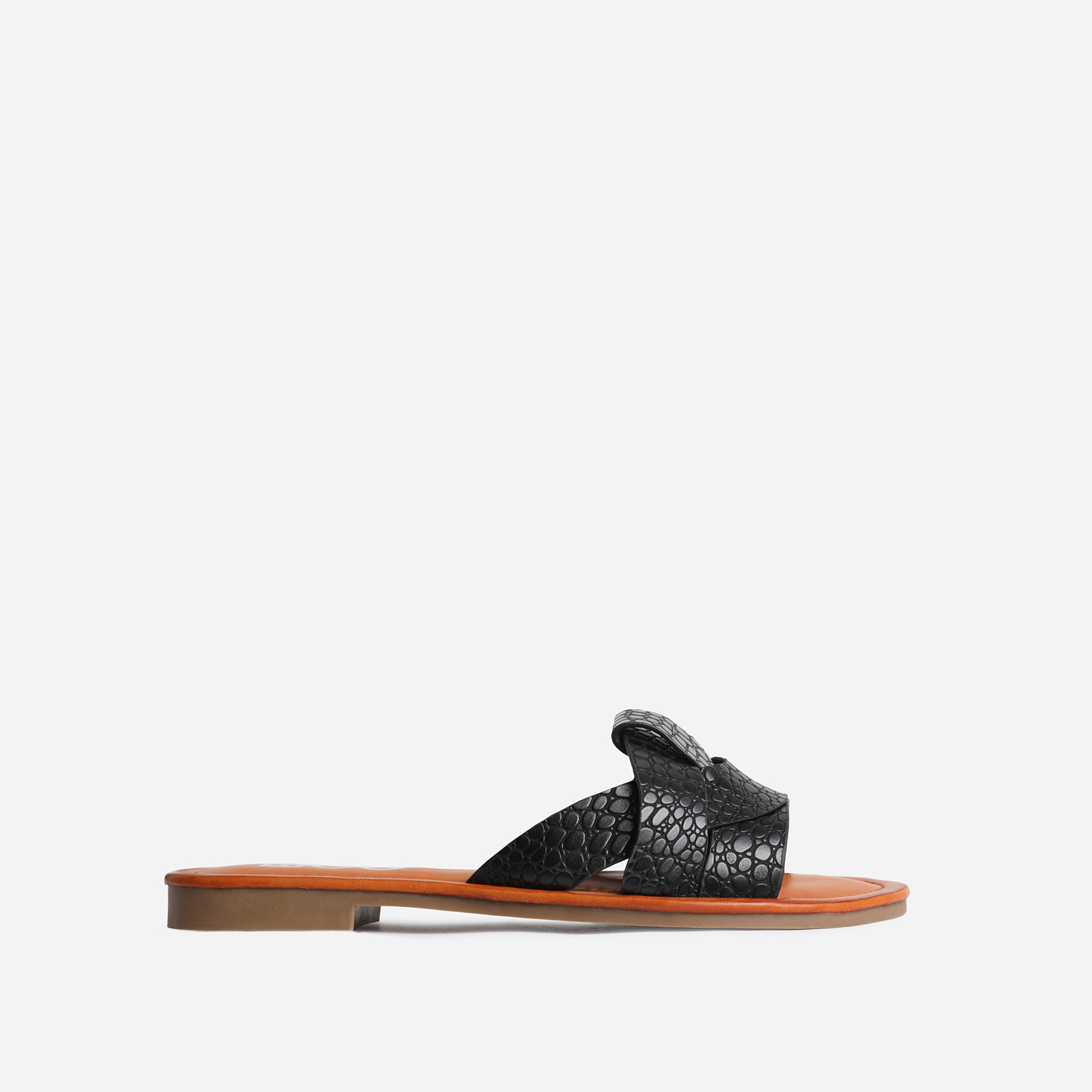 Billie Flat Sandal In Black Croc Print Faux Leather