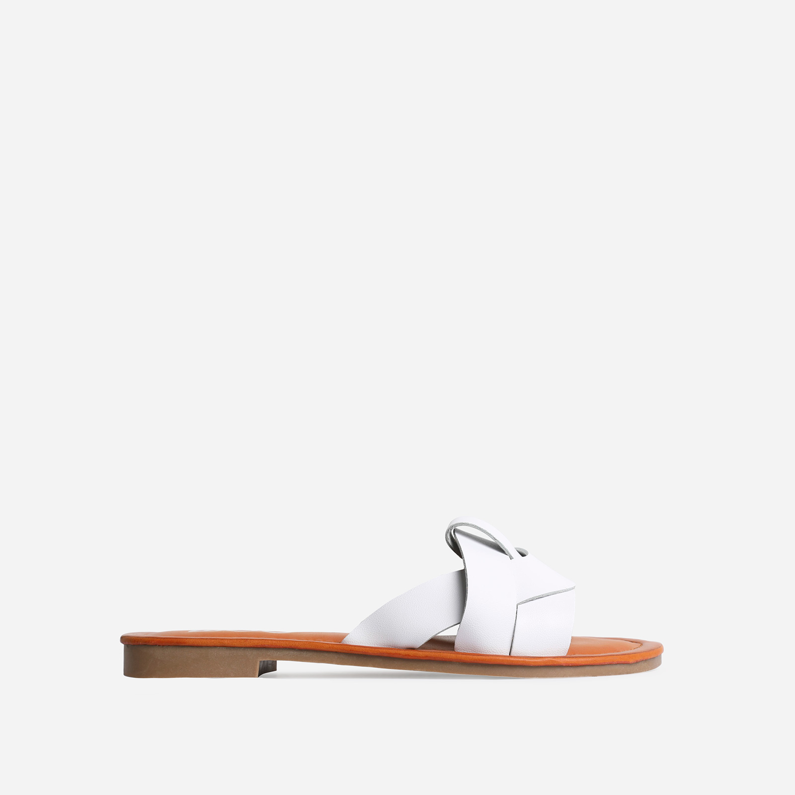Billie Flat Sandal In White Faux Leather