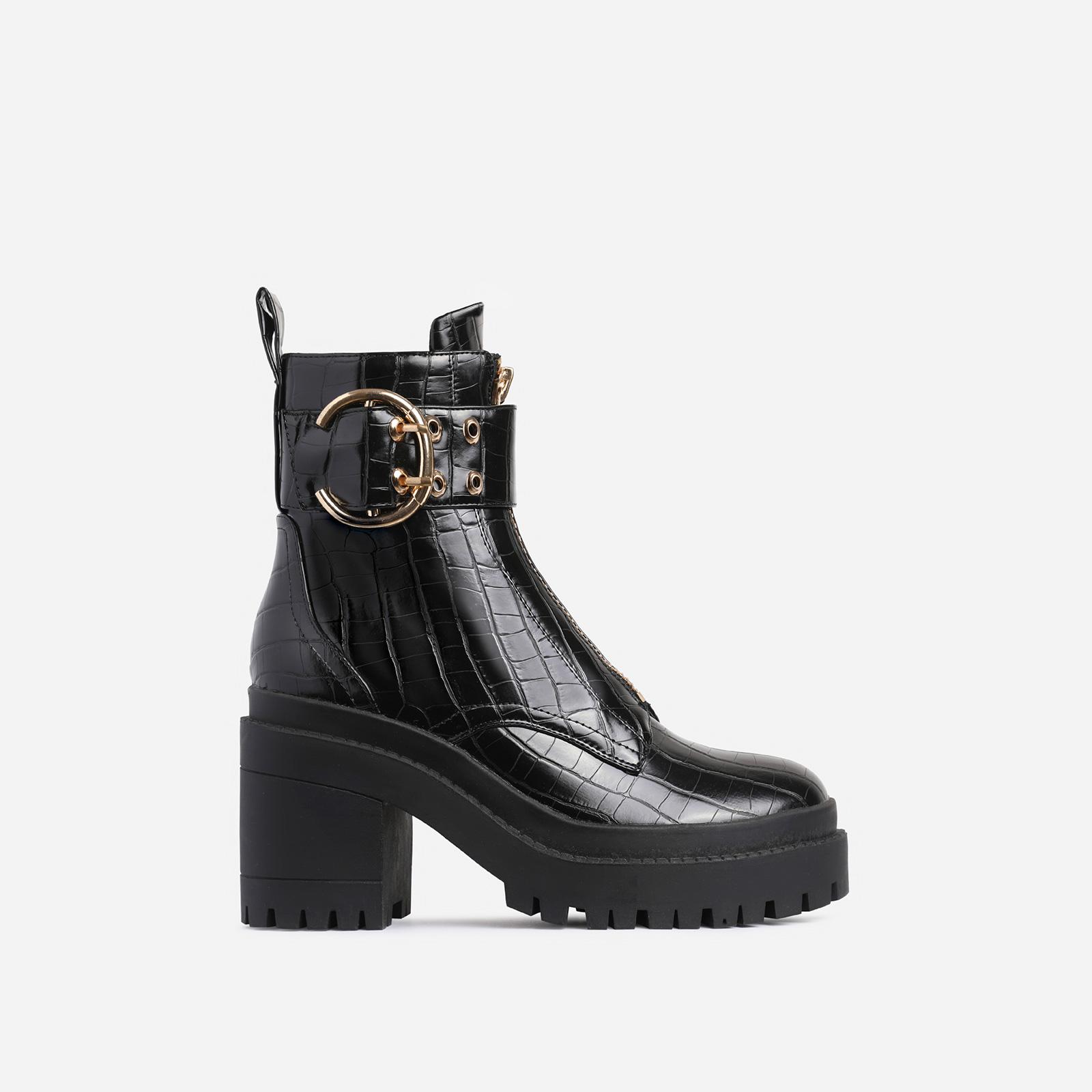 Playhouse Buckle Zip Detail Block Heel Ankle Biker Boot In Black Croc Print Faux Leather
