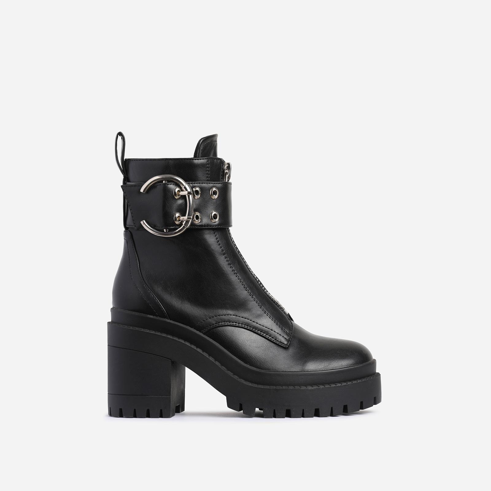 Playhouse Buckle Zip Detail Block Heel Ankle Biker Boot In Black Faux Leather