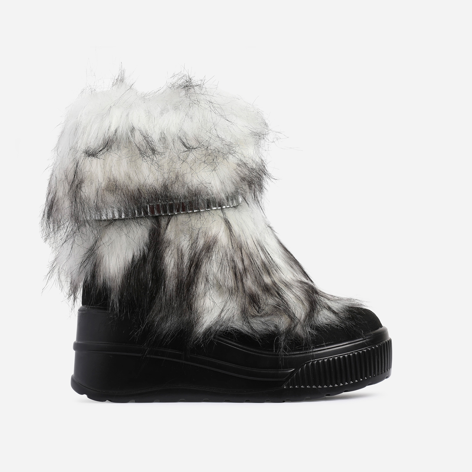 Money Diamante Detail Ankle Biker Boot In Black Faux Fur